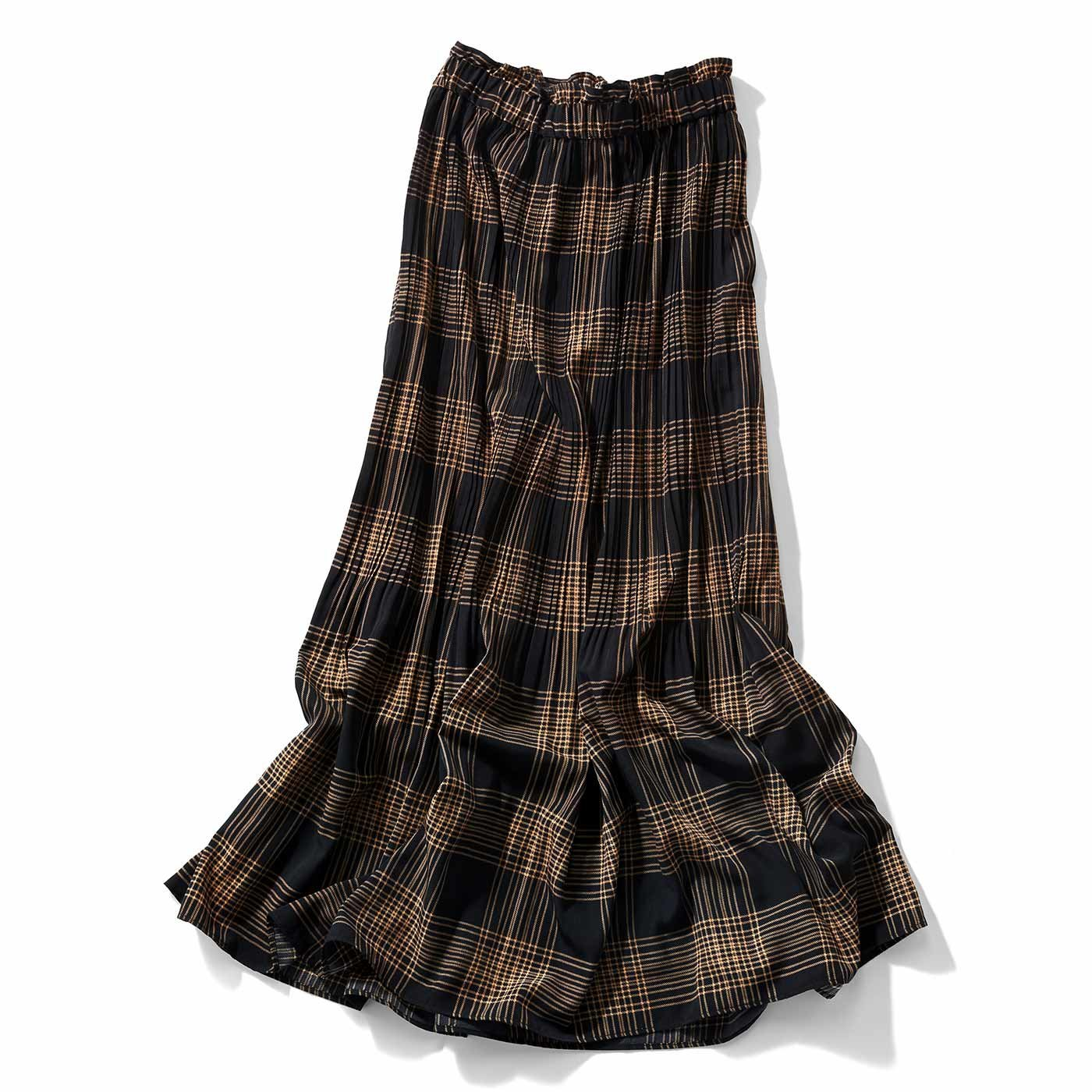 IEDIT[イディット] 消しプリーツのチェック柄マキシスカート〈ブラック〉