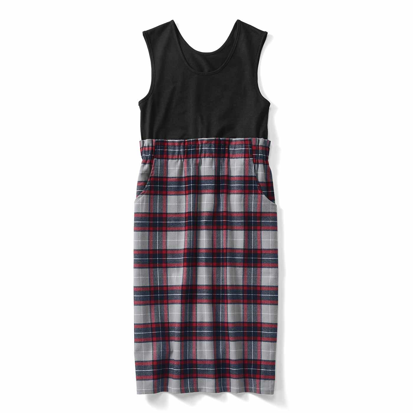 IEDIT[イディット] 上から吊ってるみたいでウエスト快適 タンクトップ付き 着映えチェック柄のⅠラインスカート〈グレー〉