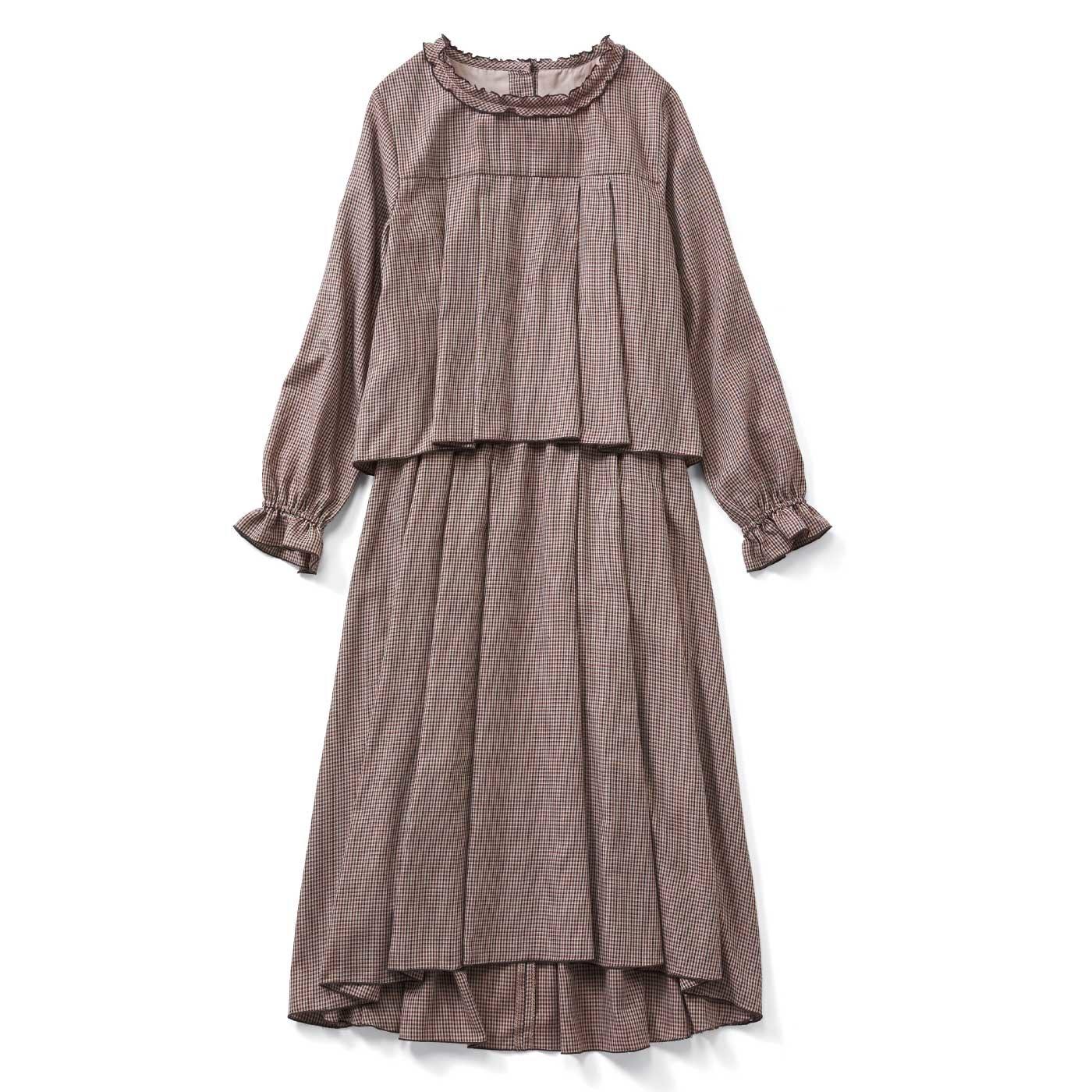 t.yamai×IEDIT[イディット] フリル衿のチェックワンピース〈ブラウン〉