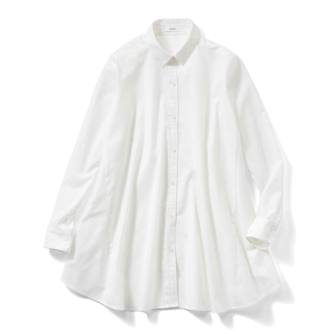 IEDIT[イディット] たっぷりフレアーが印象的なAラインシャツチュニック〈オフホワイト〉