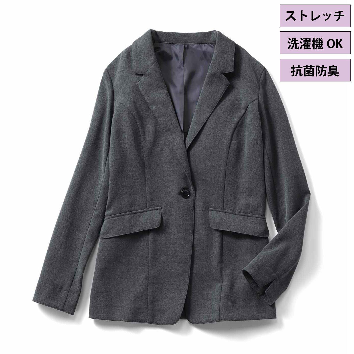 IEDIT[イディット] 抗菌防臭機能がうれしい 布はく素材のバレエフィット(R)ジャケット〈グレー〉