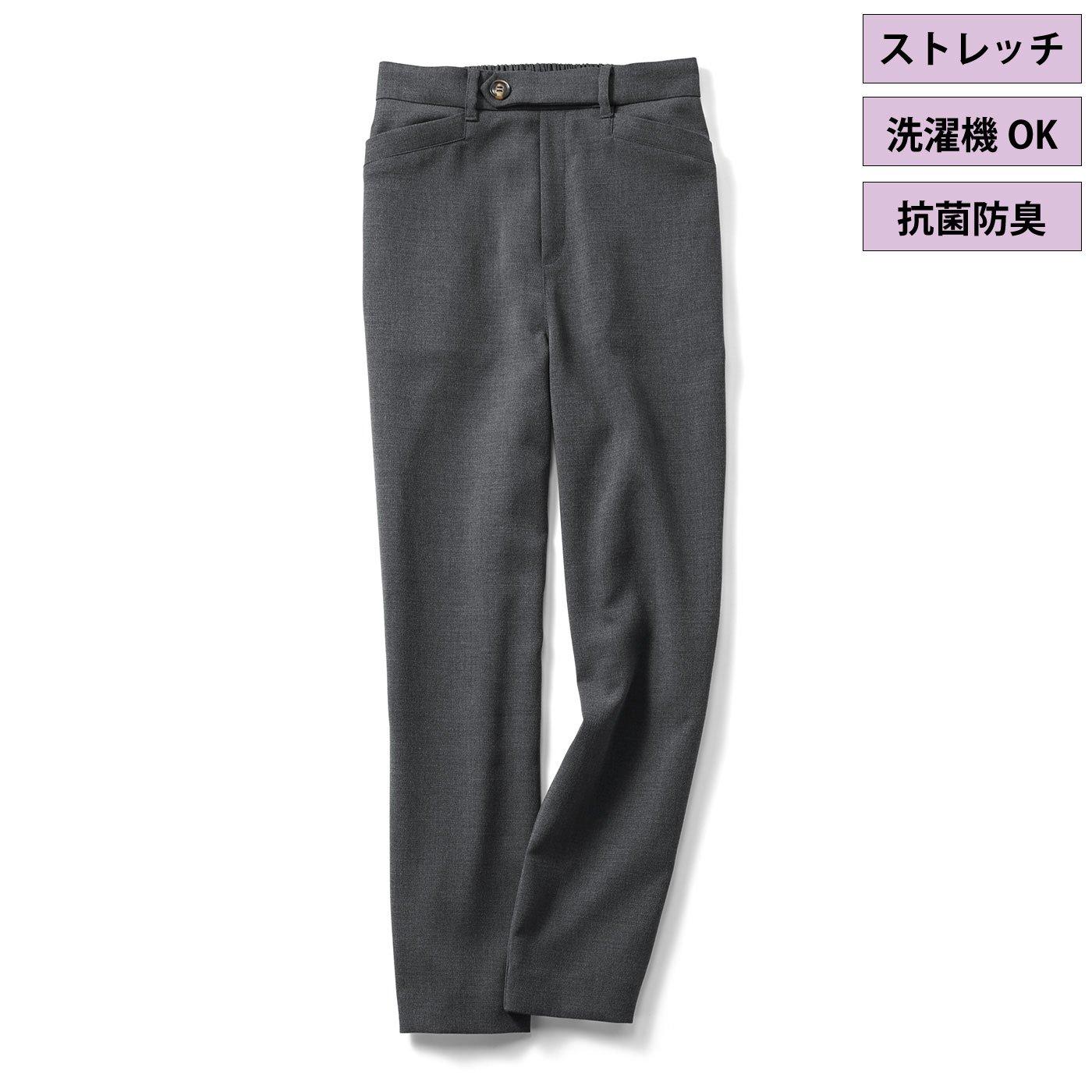 IEDIT[イディット] 抗菌防臭機能がうれしい 布はく素材のバレエフィット(R)パンツ〈グレー〉