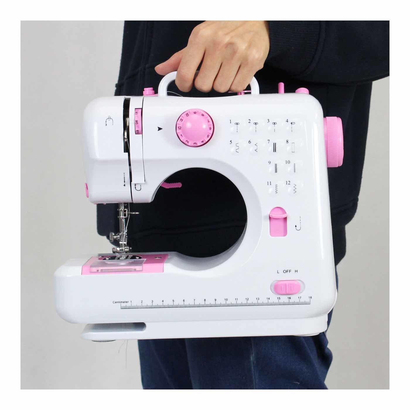 12種類の縫い目で縫える かわいいコンパクト電動ミシン〈ピンク〉