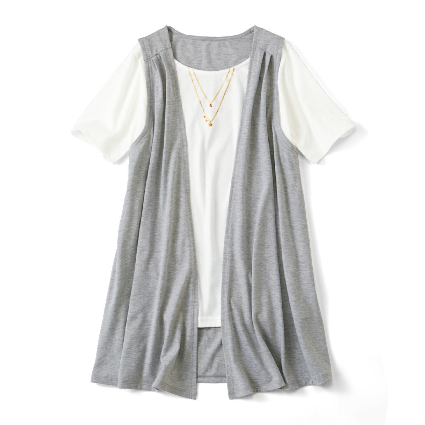 リブ イン コンフォート 体形カバーと着映えはおまかせ カシュクールにもなる ジレドッキングTシャツ〈杢グレー〉