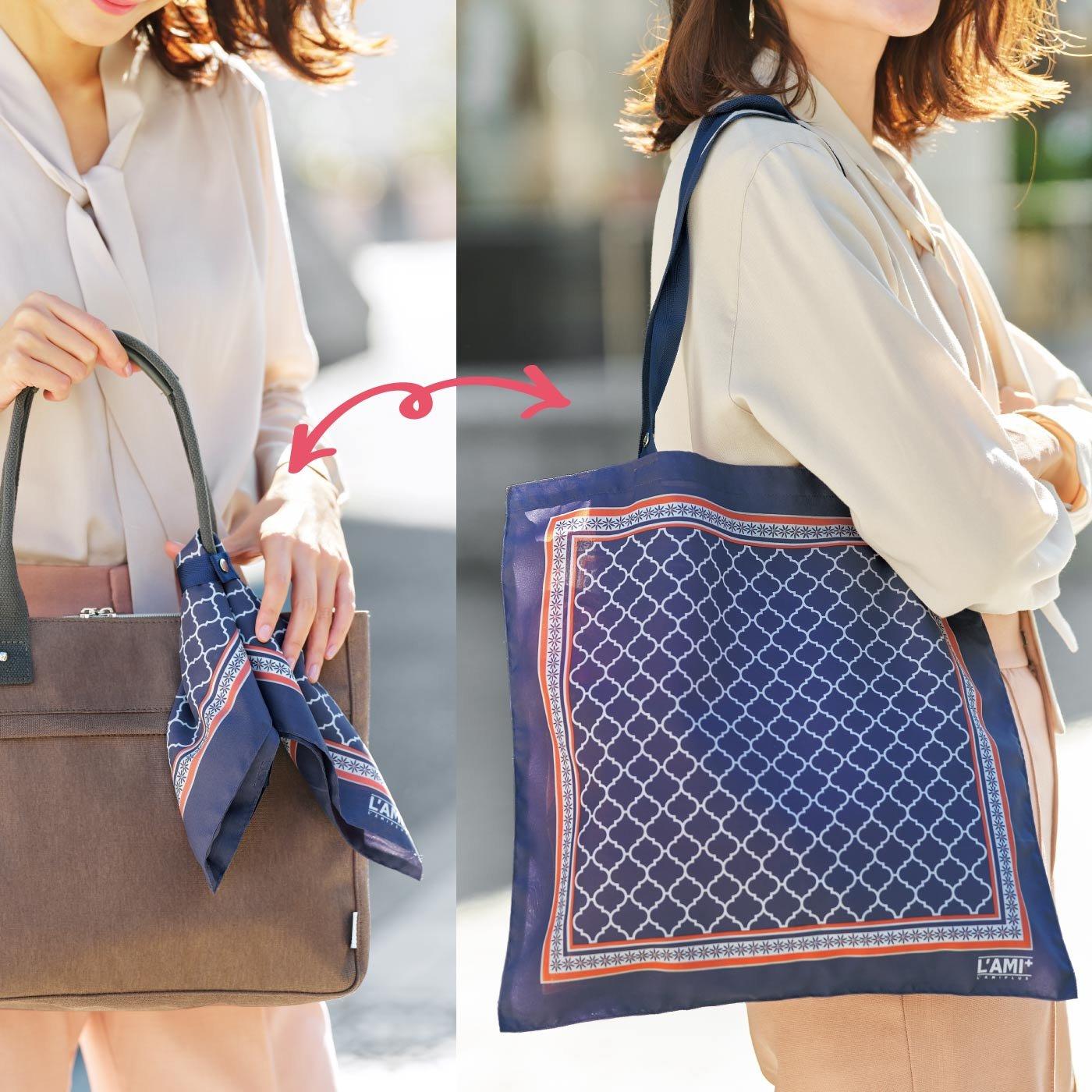 急な買い物も安心 結んでお出かけスカーフエコバッグ〈幾何学柄〉の会