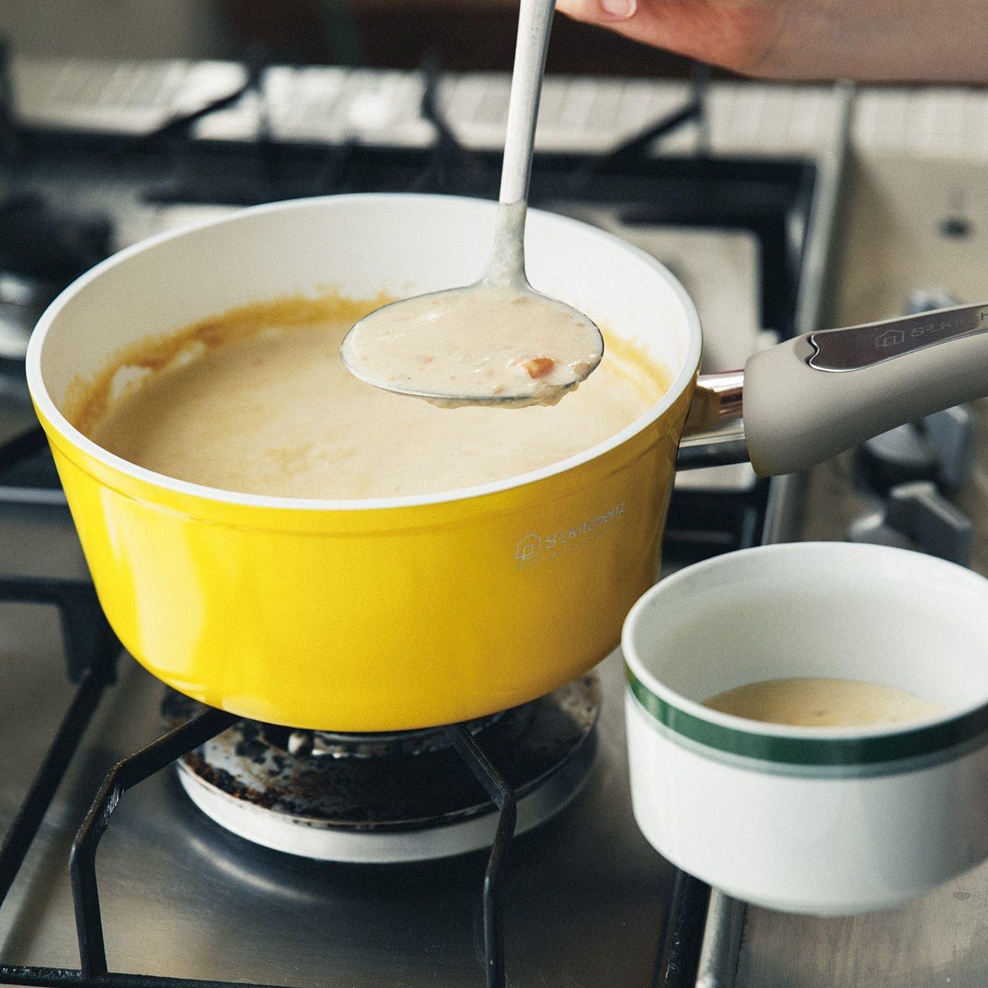 料理のテンションも腕前も上げていこう! 自慢したくなるイエローセラミッククッキングパン〈ソースパン〉