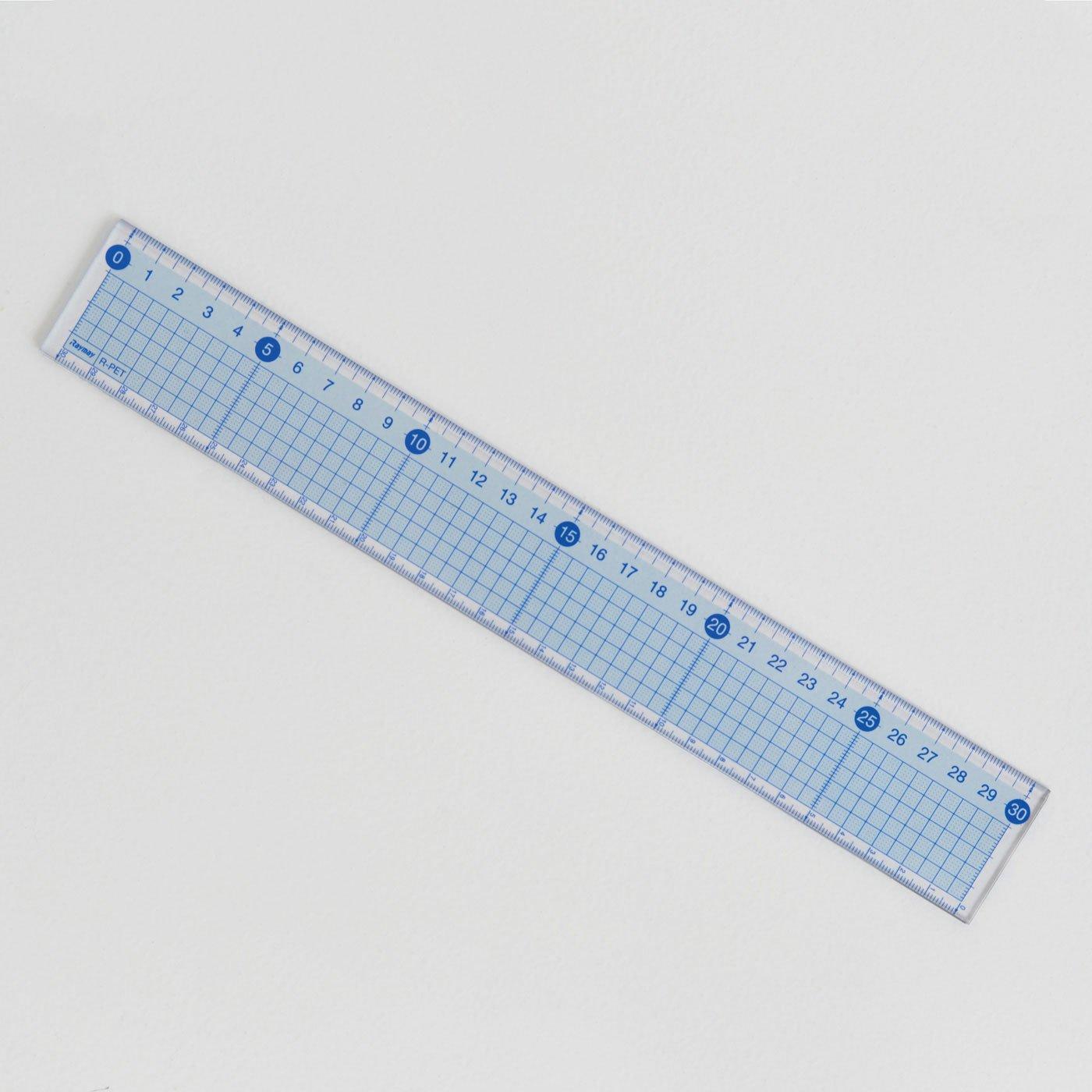 ステンレス付きでカッティングにぴったり! 段ボールクラフトにおすすめ30cmのカッティング定規(青)