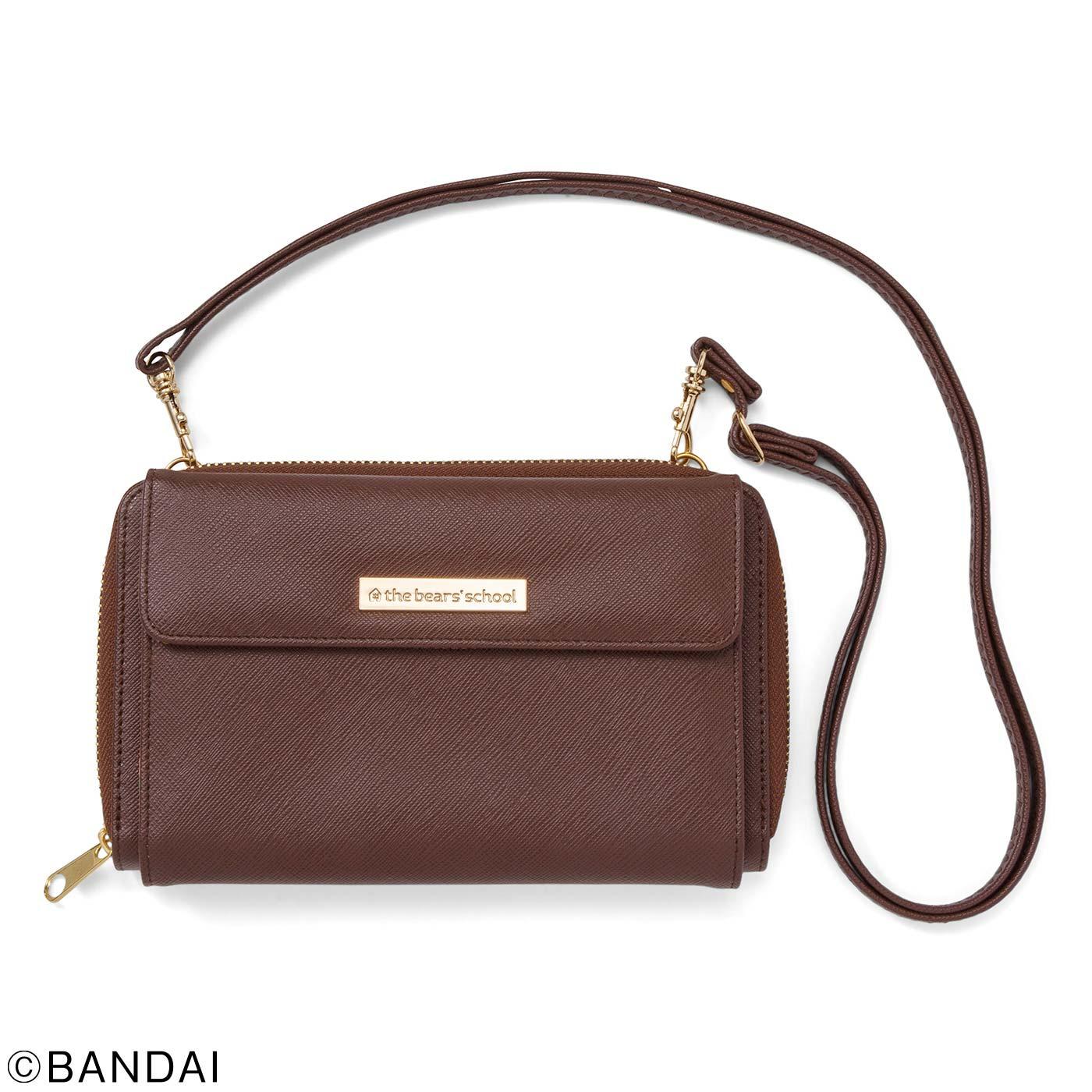 1(ブラウン) ひもの長さが調整できるストラップは外すこともできるので、財布だけで持っても。