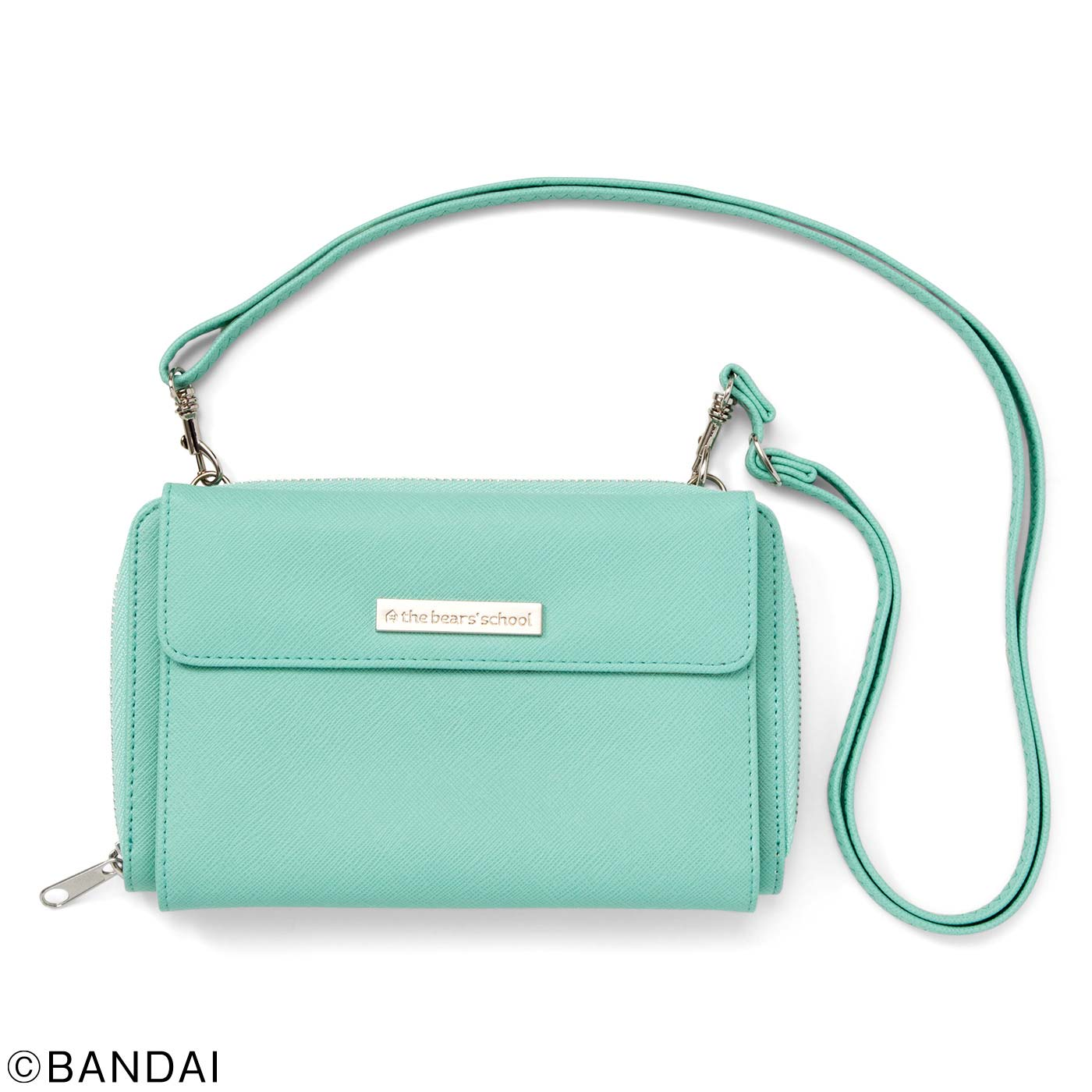 2(ミントブルー) ひもの長さが調整できるストラップは外すこともできるので、財布だけで持っても。