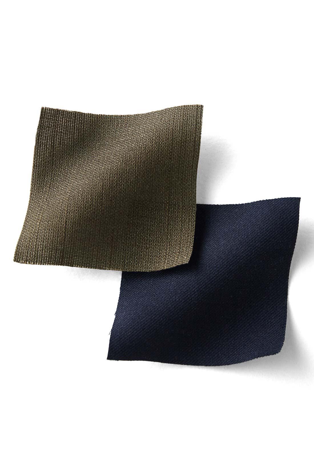 トップスはシャリッと涼しいリネンライク素材。パンツ部分は伸びやかな薄手のツイル。しわが気になりにくい素材で、おうちで洗濯できるのもうれしい。
