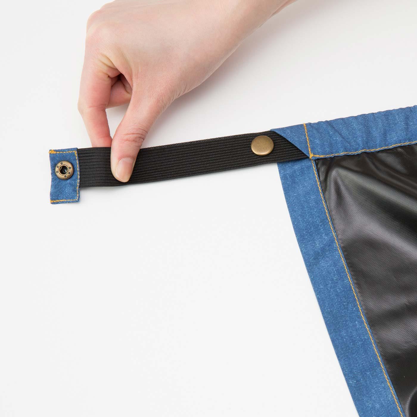 上辺には隠し平ゴム+スナップボタン。ギュッとしぼって留められるからウエストにもフィット。