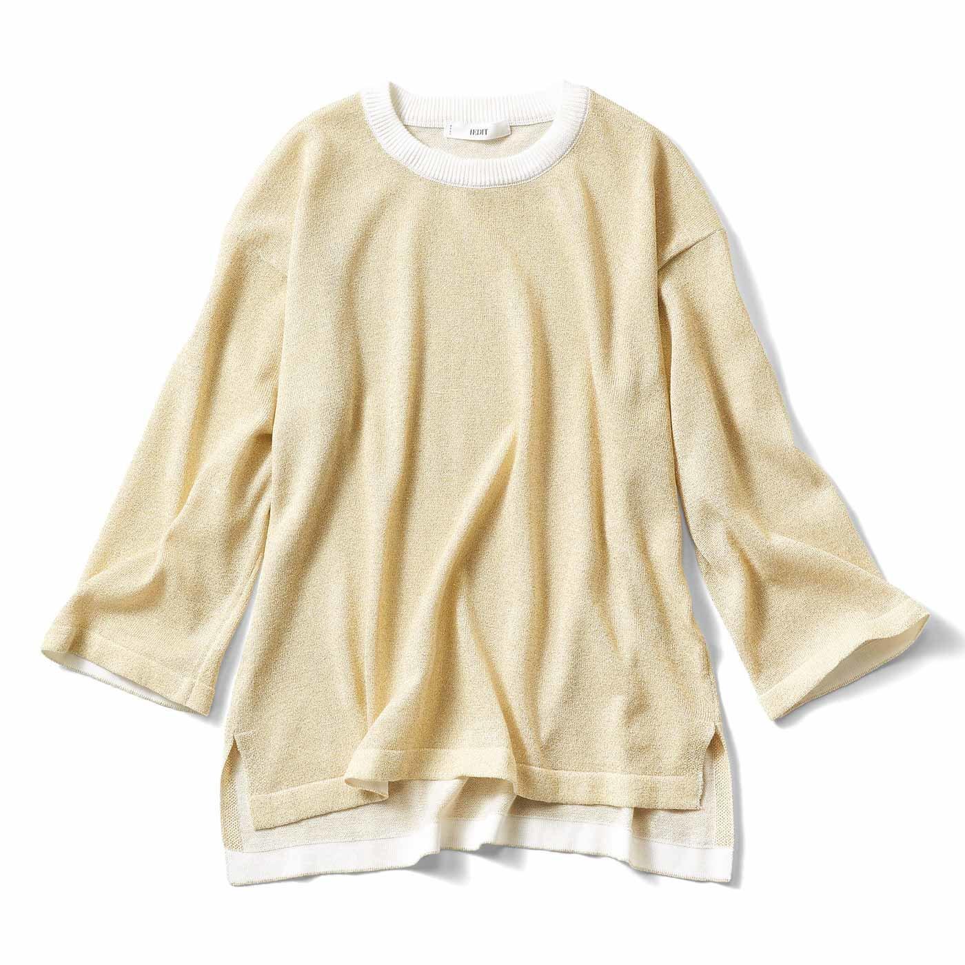 IEDIT ドロップショルダーのラメ混ニットTシャツ〈ゴールド〉