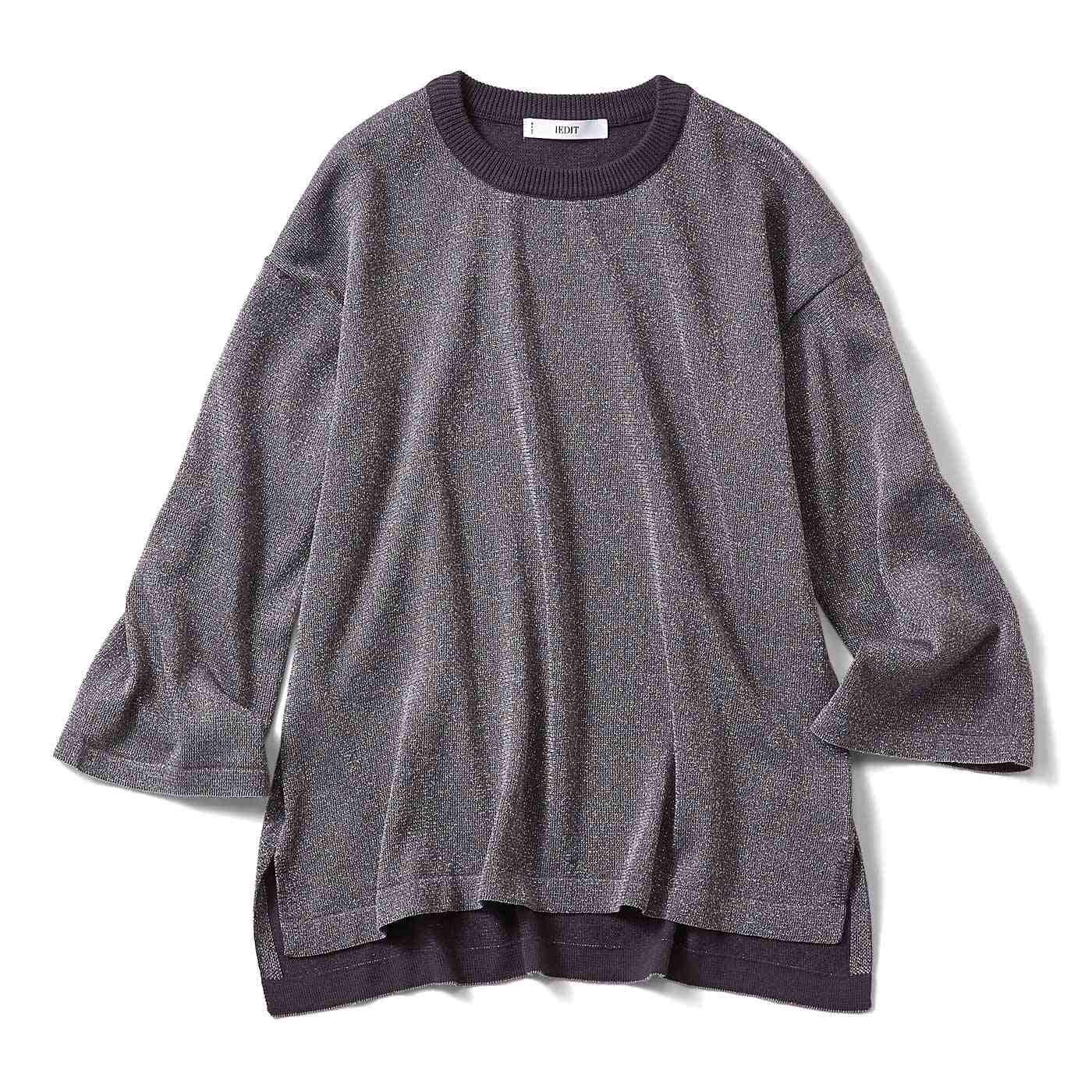 IEDIT ドロップショルダーのラメ混ニットTシャツ〈シルバー〉