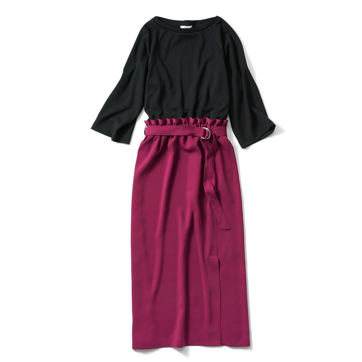 IEDIT カラースカートドッキングのロングワンピース〈ブラック×ローズピンク〉