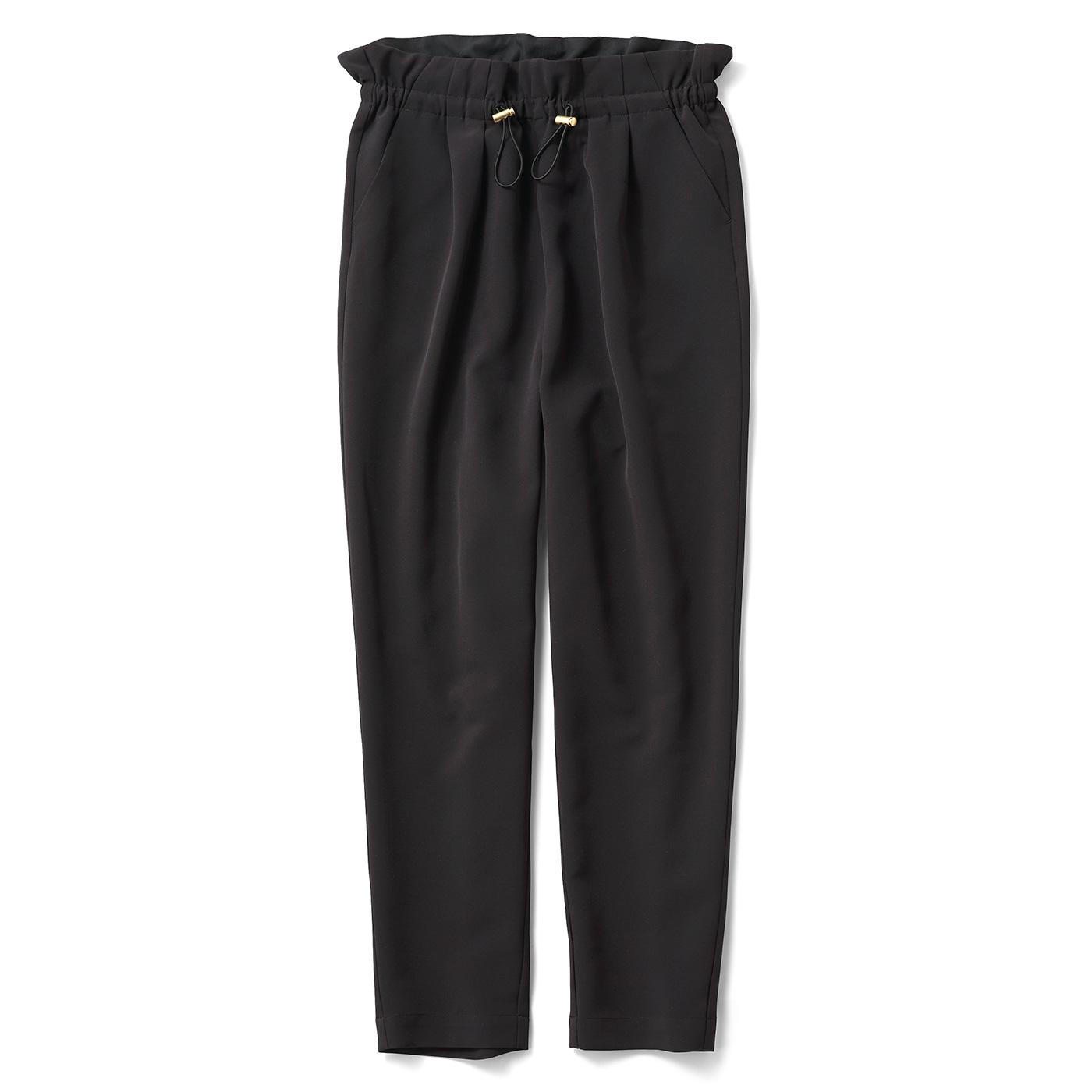 IEDIT オンオフに着られるドローコードパンツ〈ブラック〉
