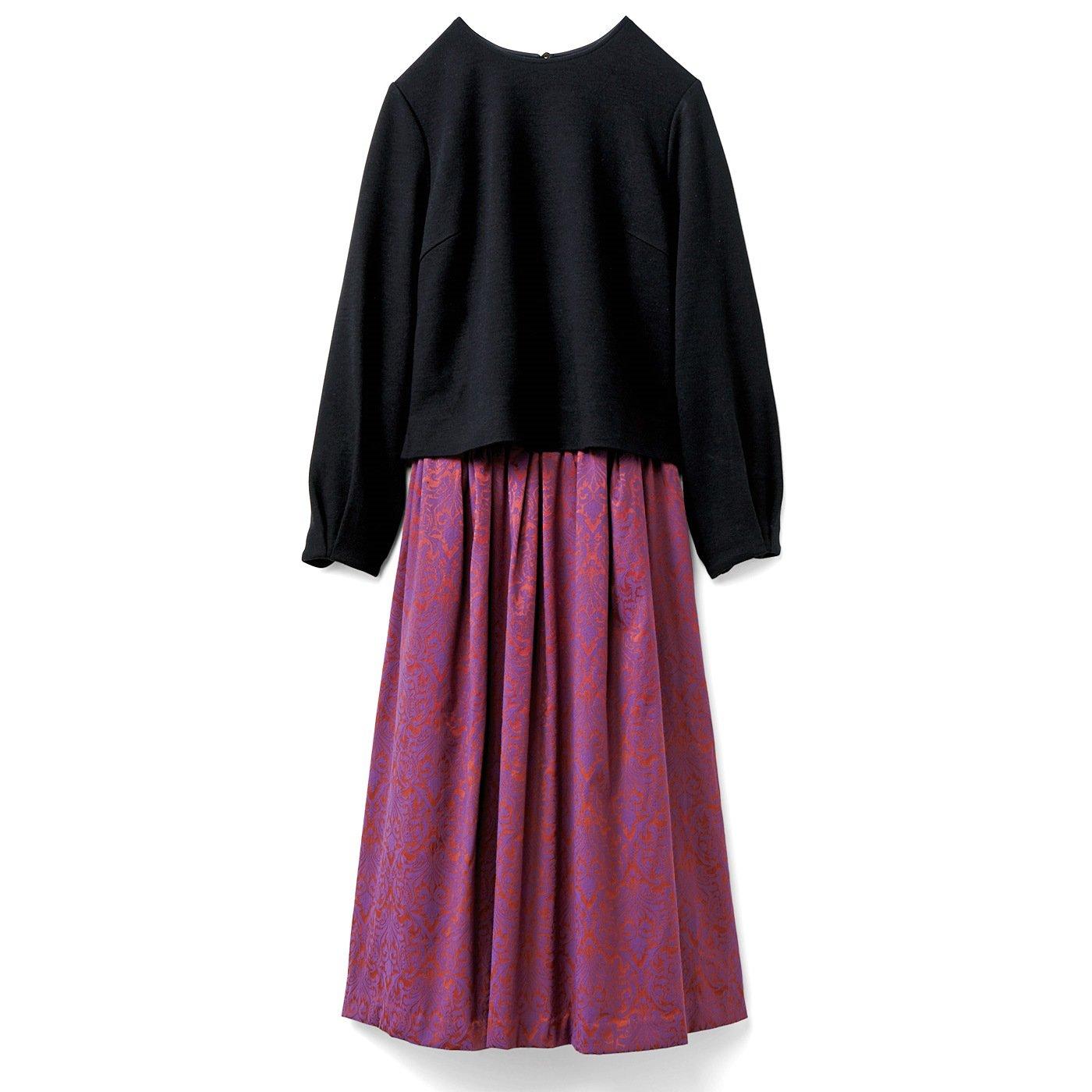 IEDIT ジャカードスカートドッキング コーデしているみたいな華やかワンピース〈ブラック〉