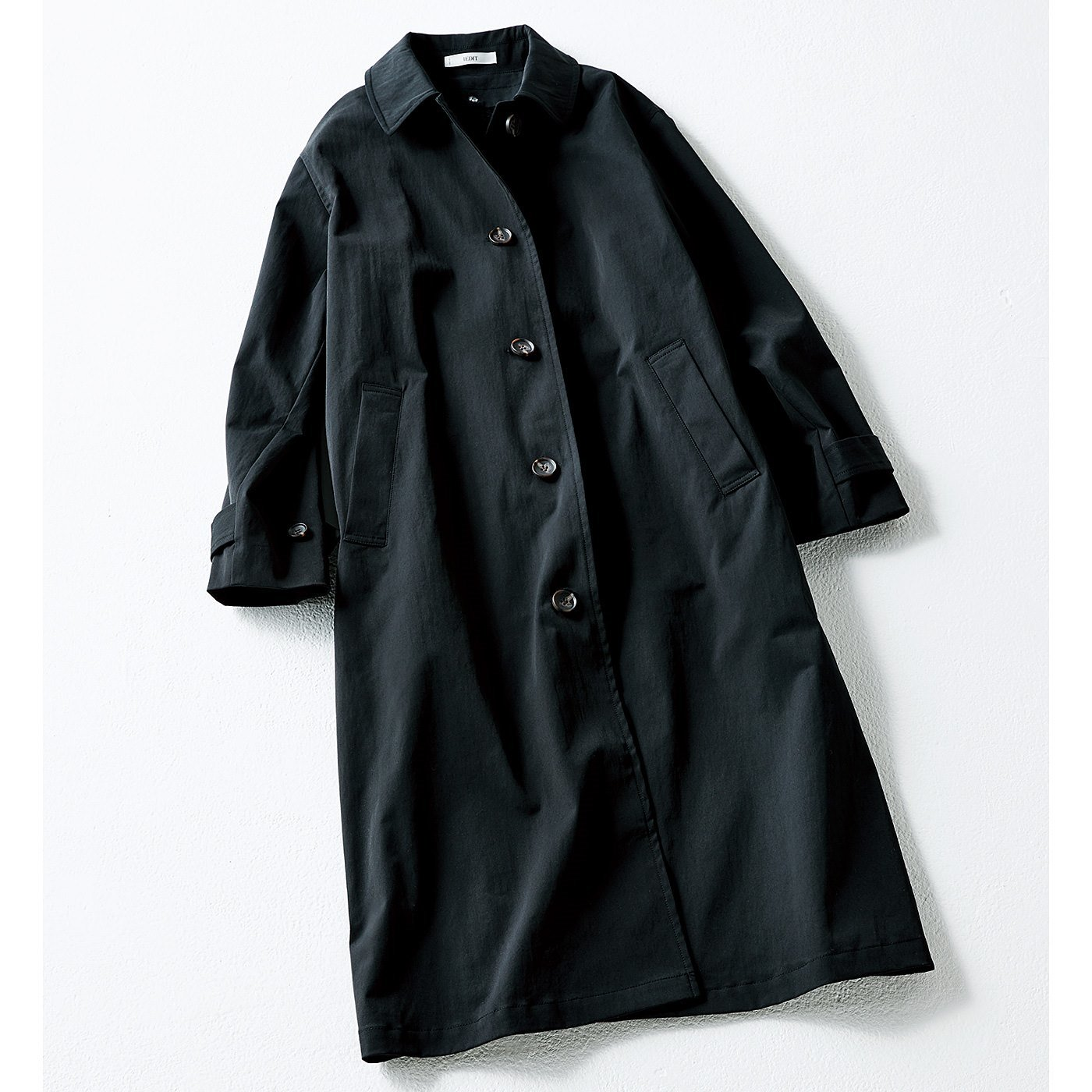 IEDIT TEXBRID(R)素材の裏ボアステンカラーコート〈ブラック〉