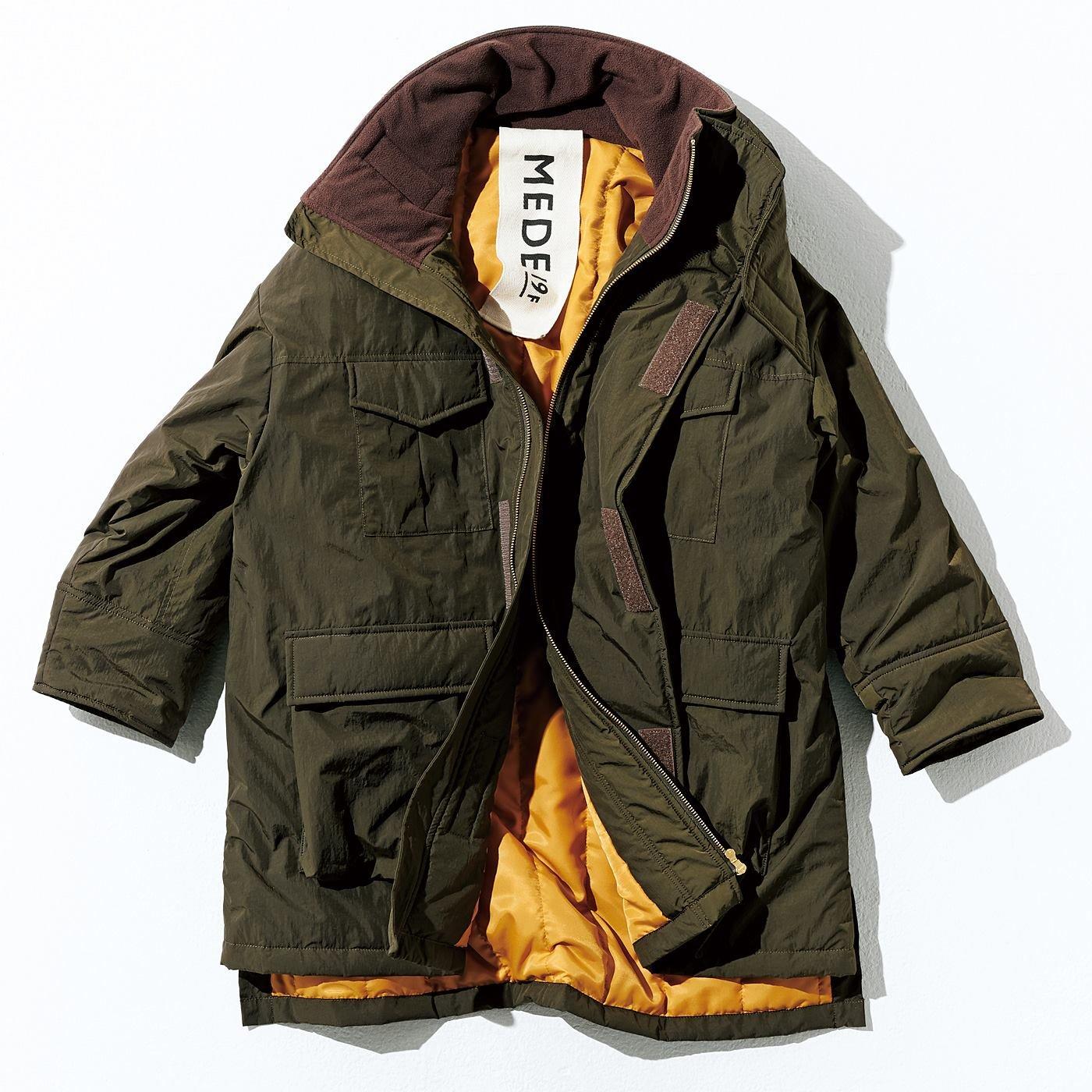 MEDE19F オーバーサイズミリタリージャケットコート〈カーキ〉