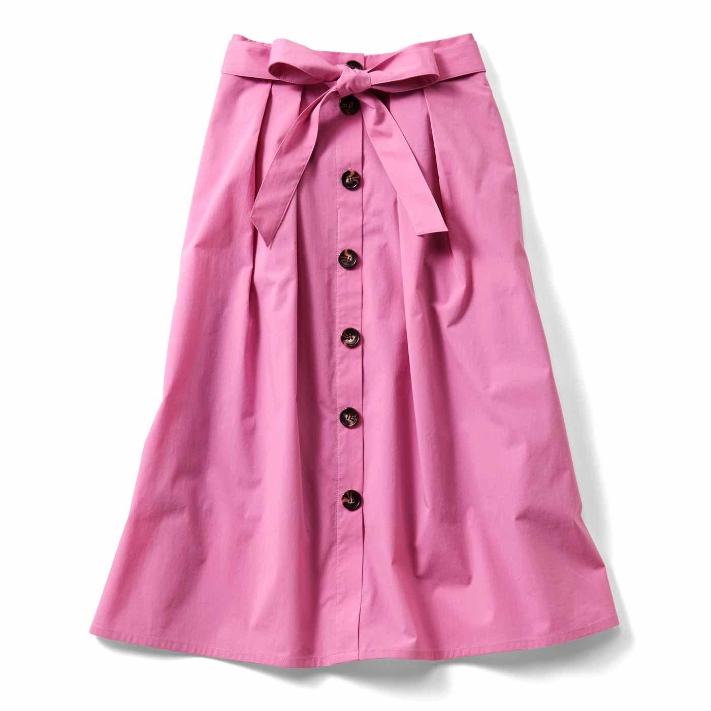 IEDIT フロントボタンフレアースカート〈ピンク〉