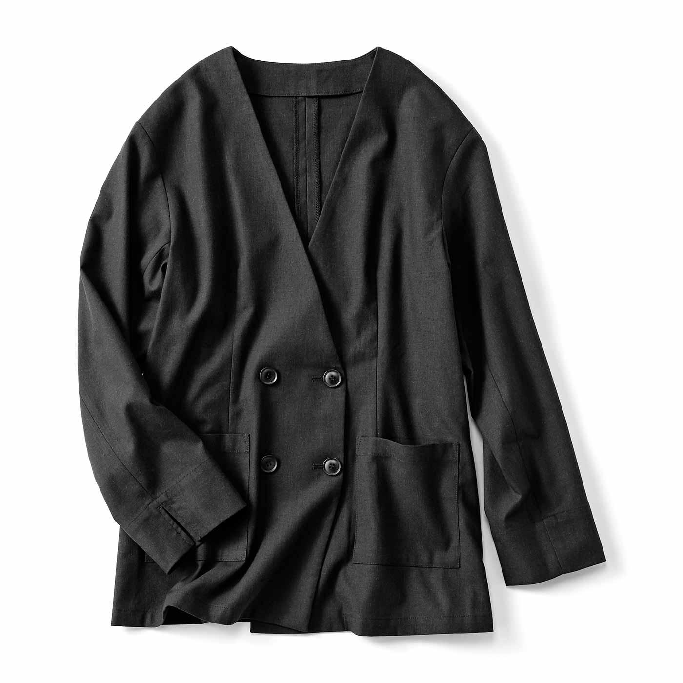 麻混素材のダブルノーカラージャケット