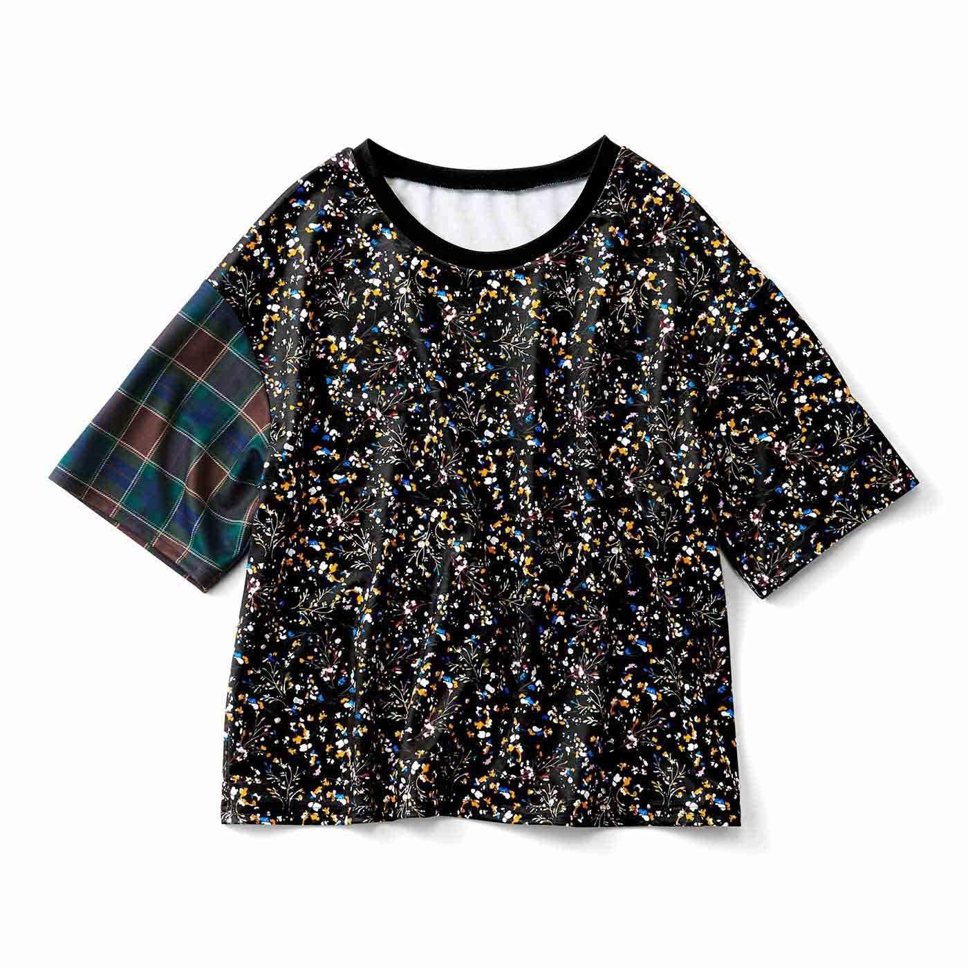 柄ミックスのゆるっとTシャツ〈花柄カラフル〉