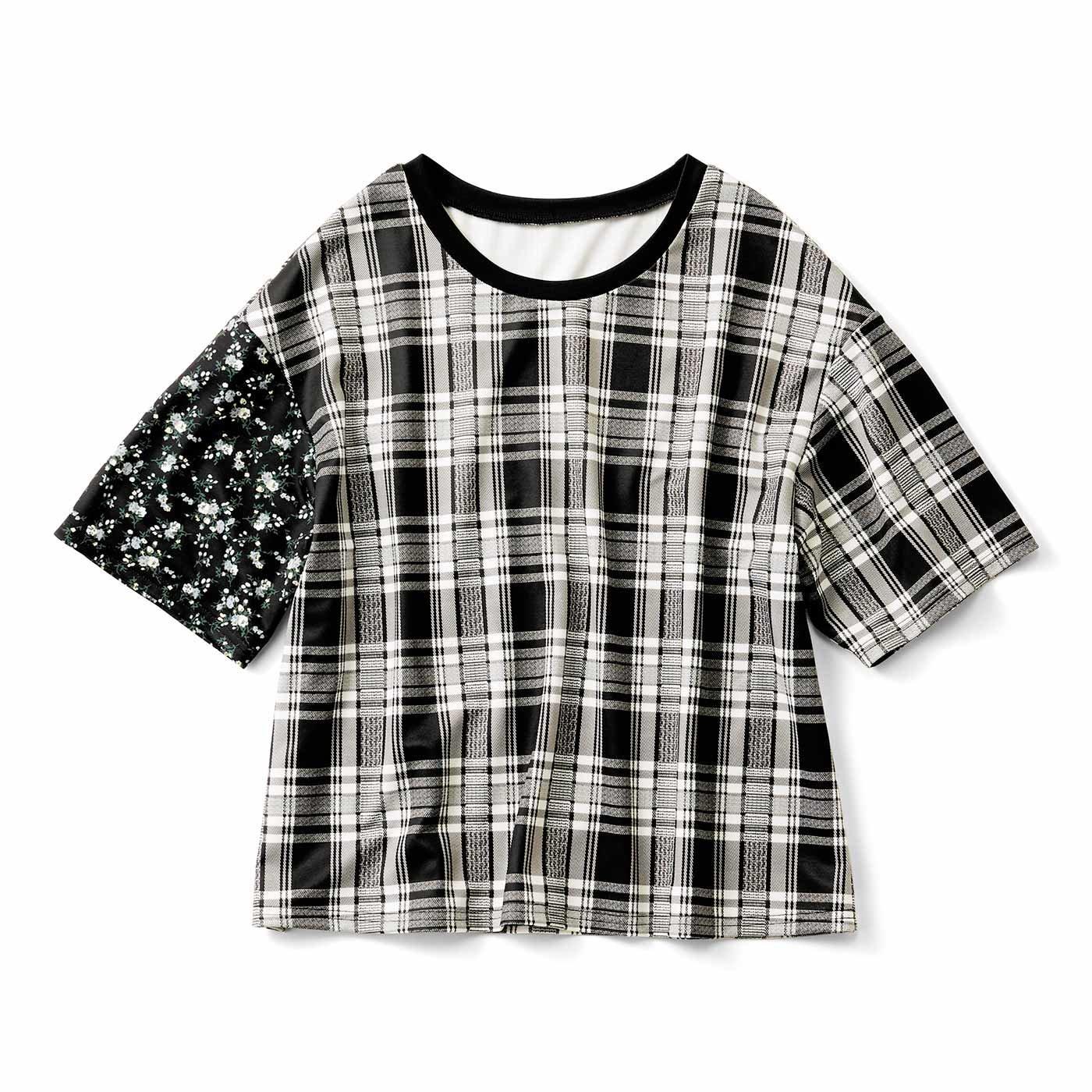 柄ミックスのゆるっとTシャツ〈モノトーンチェック〉
