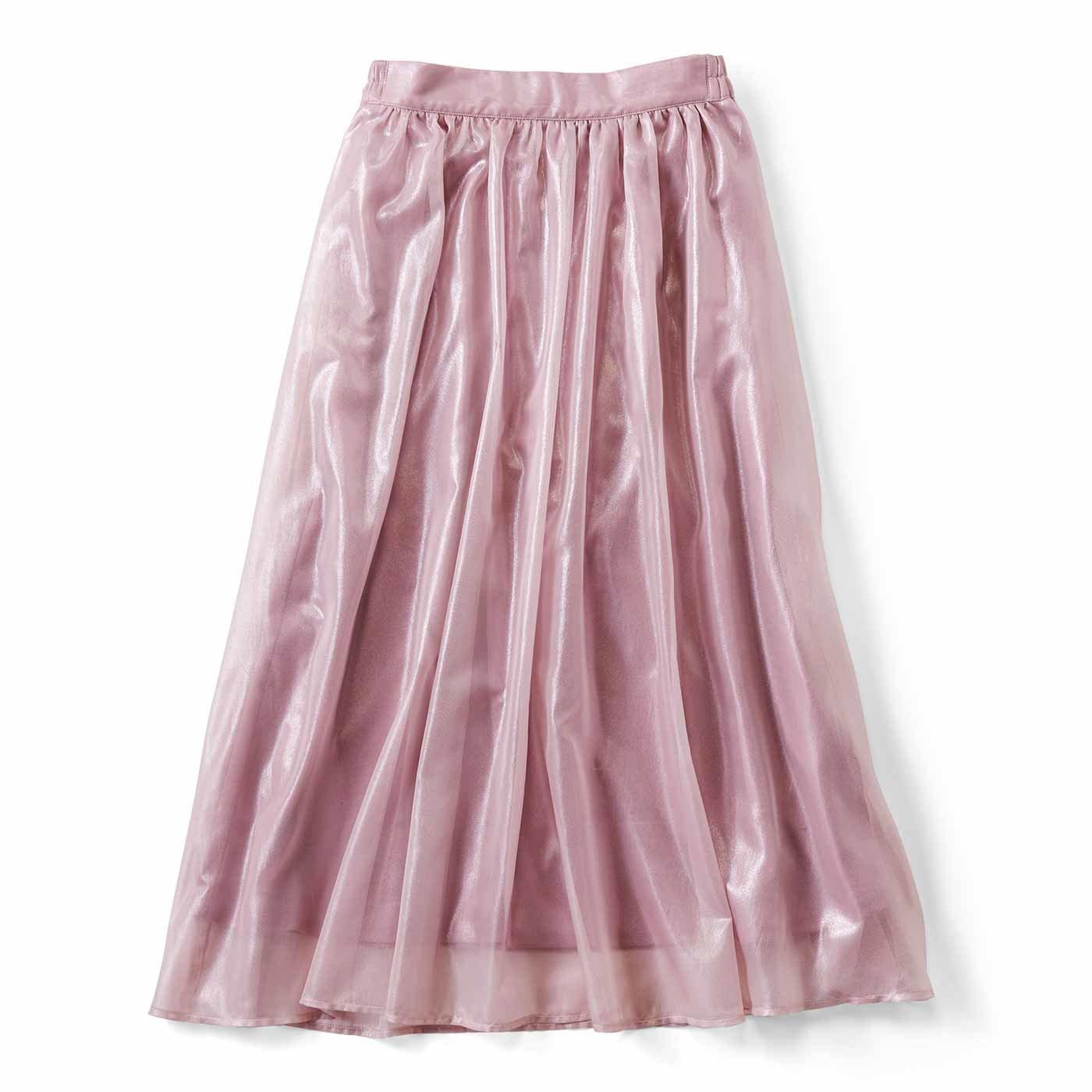 ふわふわ軽やか 箔プリントのギャザースカート〈ラベンダー〉