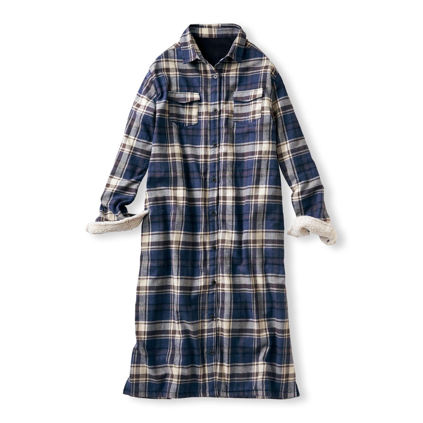 フェリシモ リブ イン コンフォート ワンピにもはおりにもなる サッと着て全身あったか 裏フリースチェックシャツワンピース〈ブラウン〉