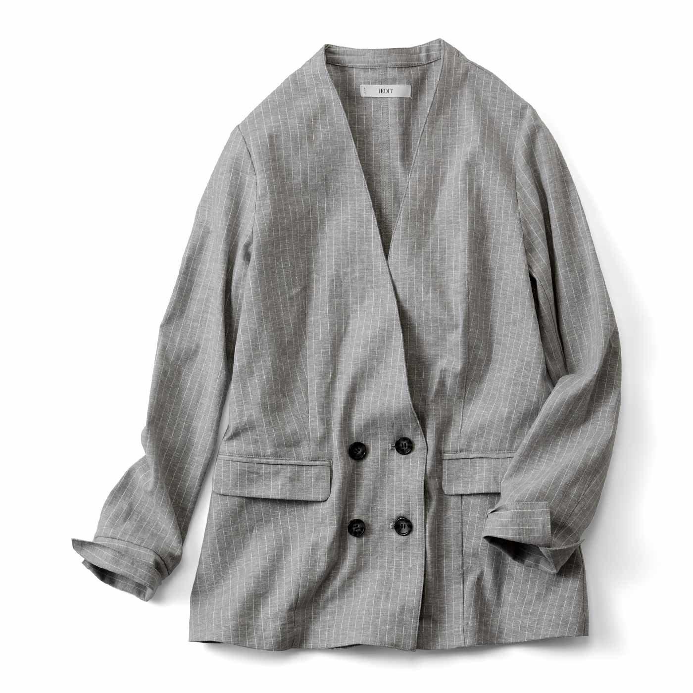 IEDIT[イディット] ストレッチリネン素材で伸びやかな着心地 ノーカラージャケット〈グレー〉