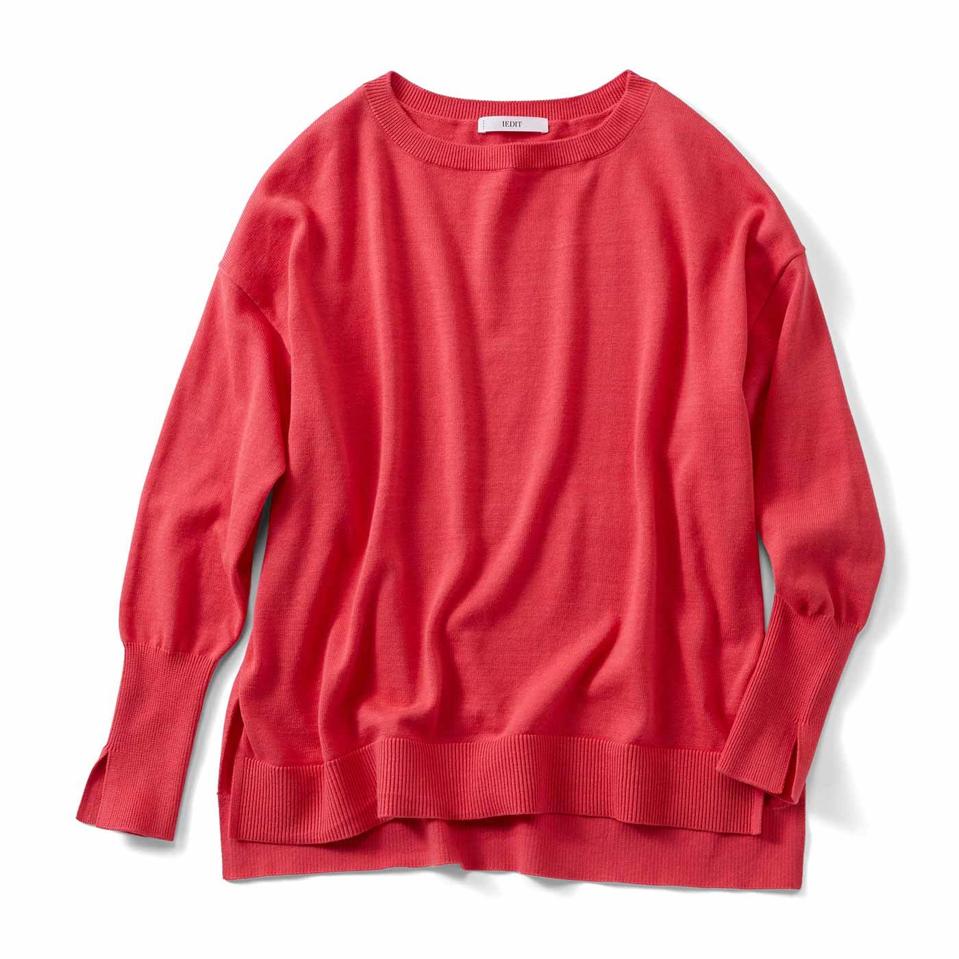 IEDIT[イディット] ゆるっと着られて華奢見えする コットンシルク素材ニット〈オレンジレッド〉