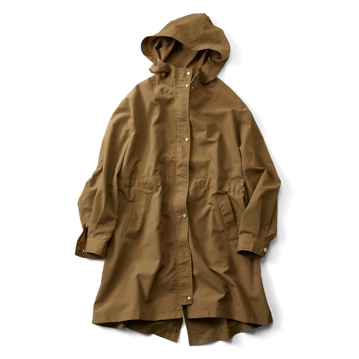 IEDIT[イディット] 花粉がつきにくくて多機能がうれしい 背負えて便利なミドル丈フーデッドコート〈ラテベージュ〉