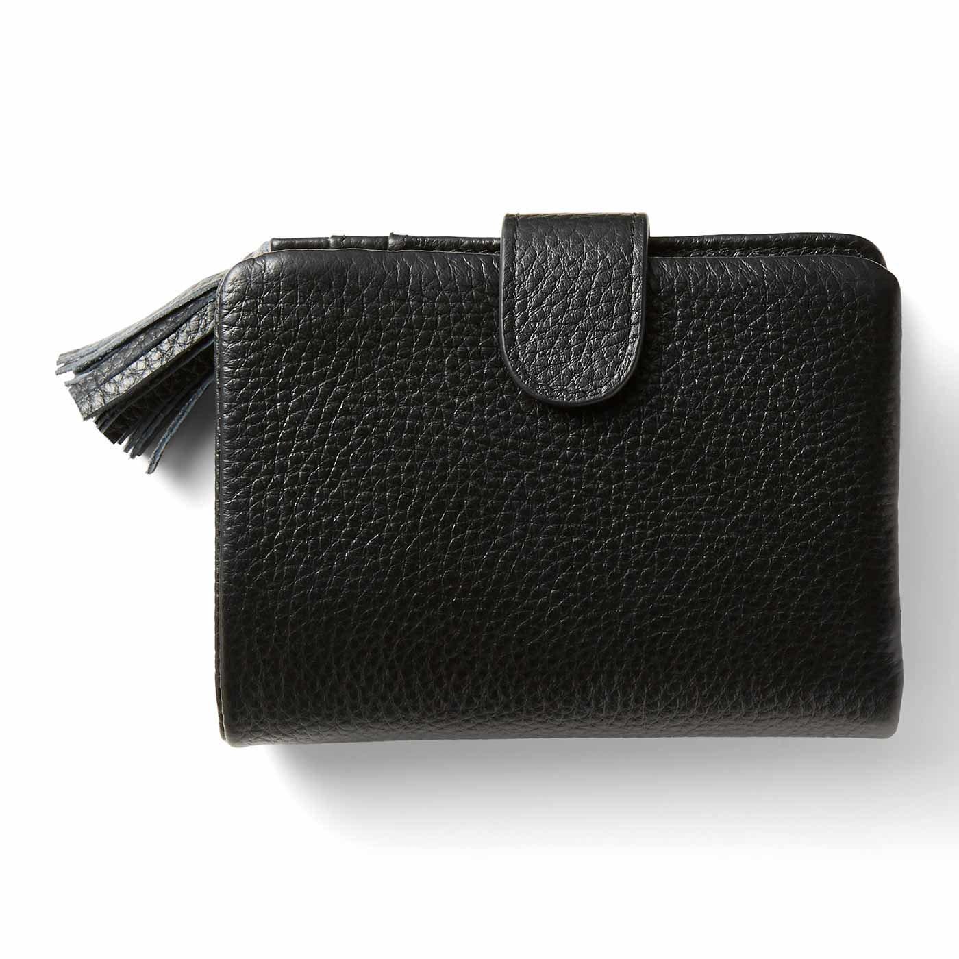 IEDIT[イディット] くったり本革素材できれいめ二つ折り財布〈ブラック〉