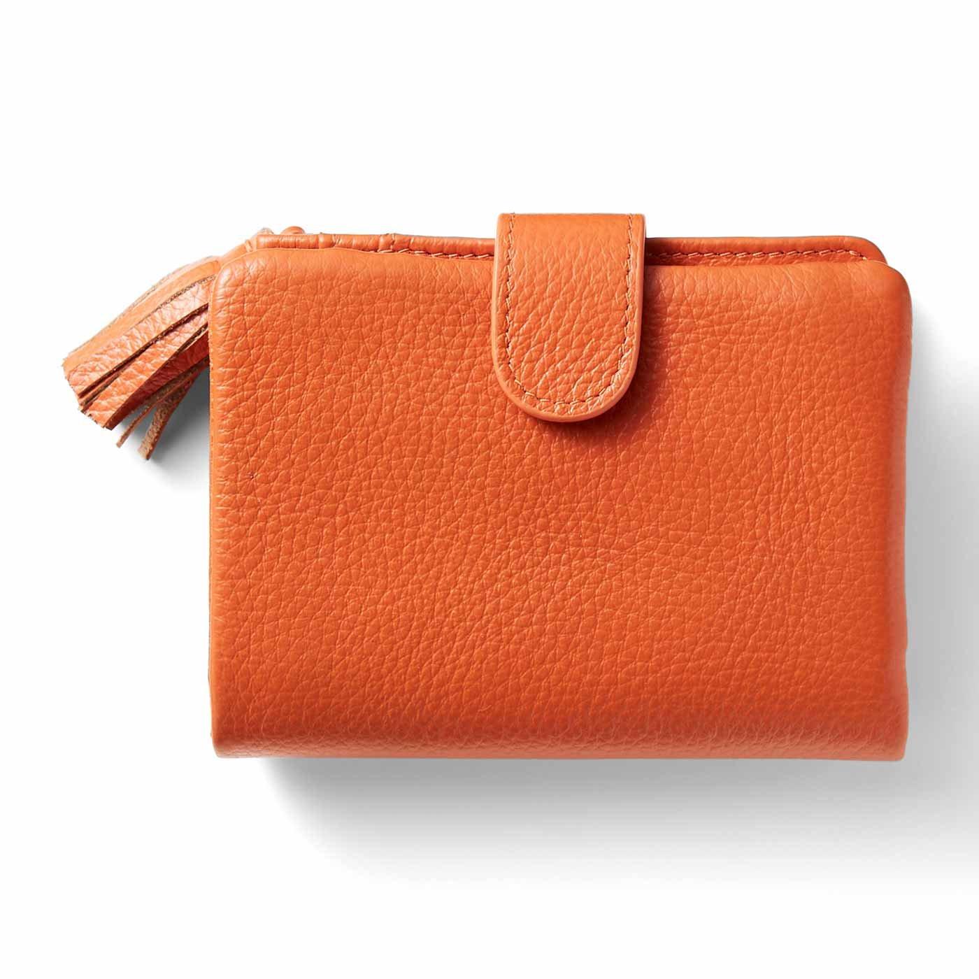 IEDIT[イディット] くったり本革素材できれいめ二つ折り財布〈オレンジ〉