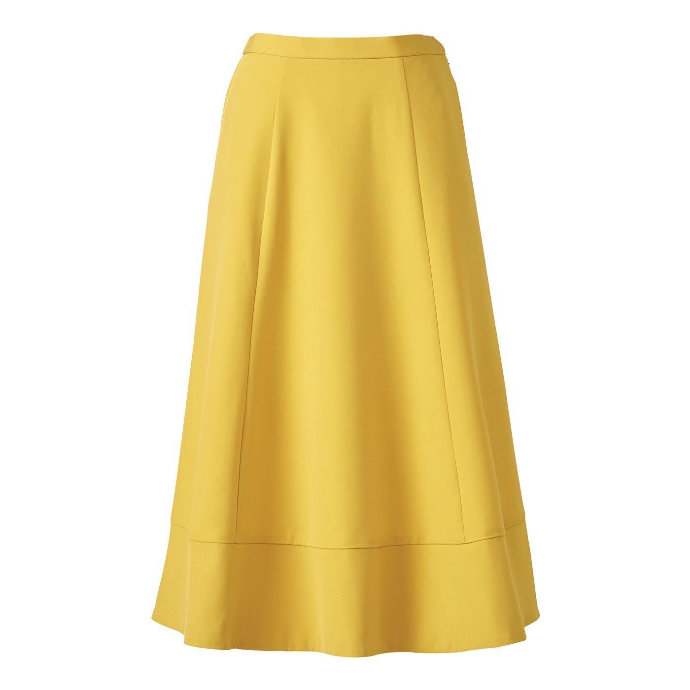IEDIT[イディット] たっぷりフレアーがドラマティックなミドル丈スカート〈イエロー〉