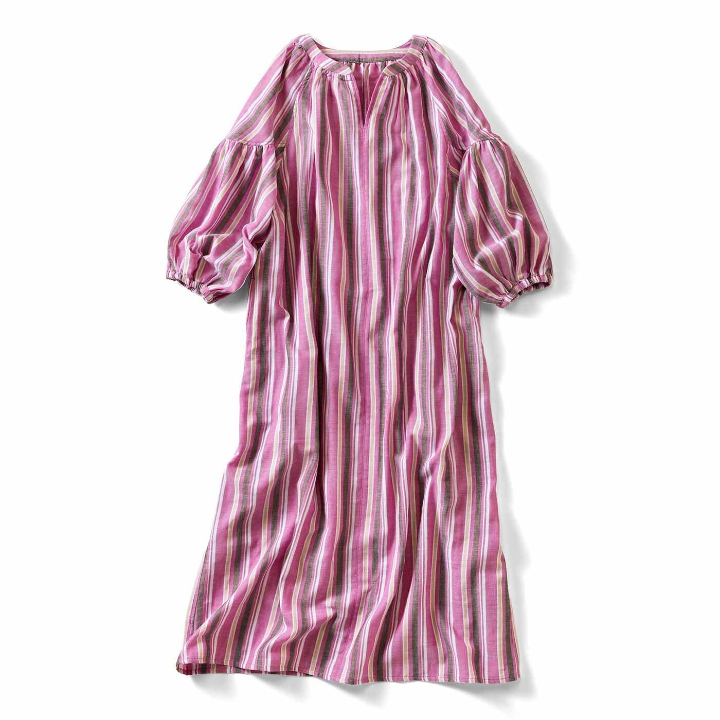 IEDIT[イディット] 先染めマルチストライプのダブルガーゼロングドレス〈ピンク〉
