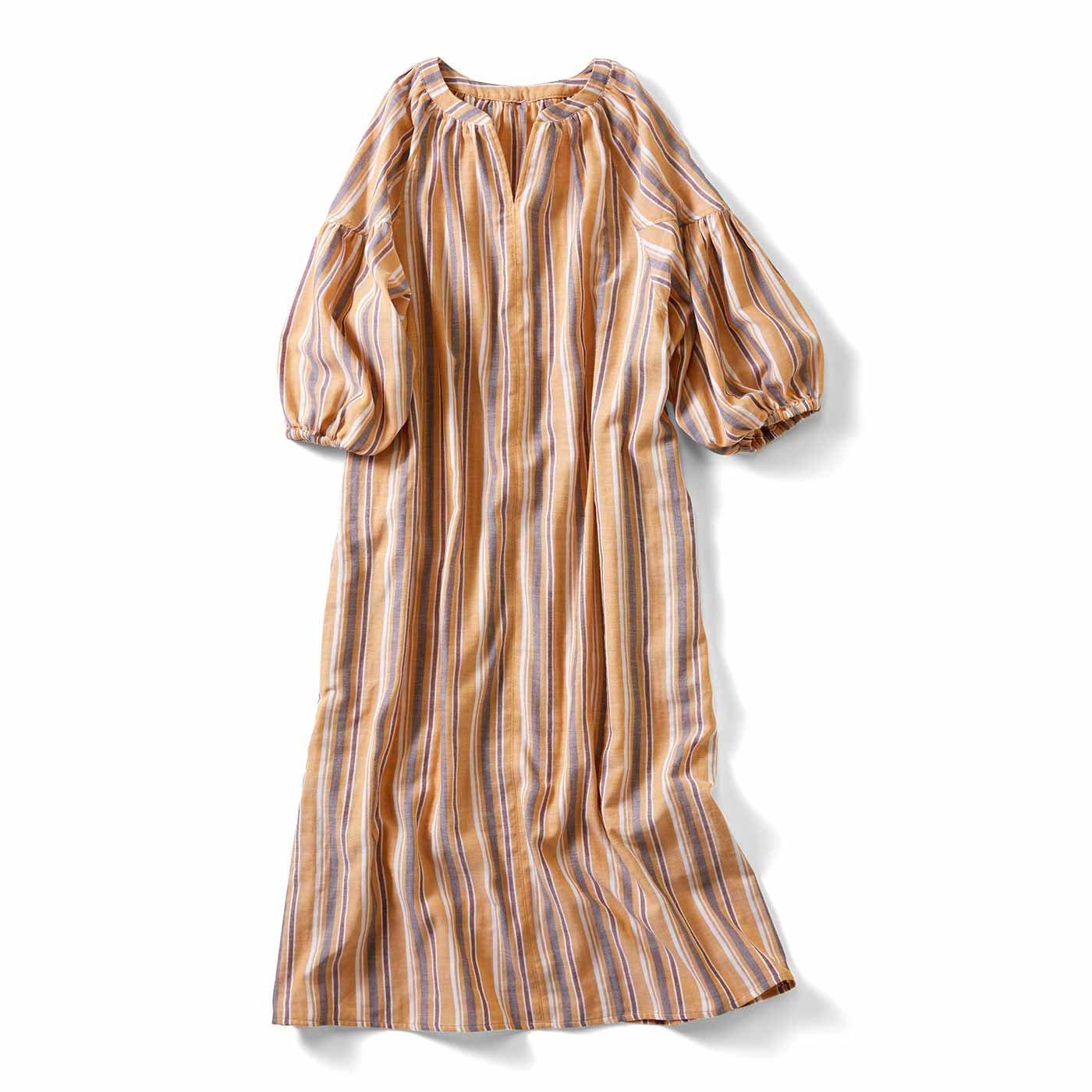 IEDIT[イディット] 先染めマルチストライプのダブルガーゼロングドレス〈マスタード〉