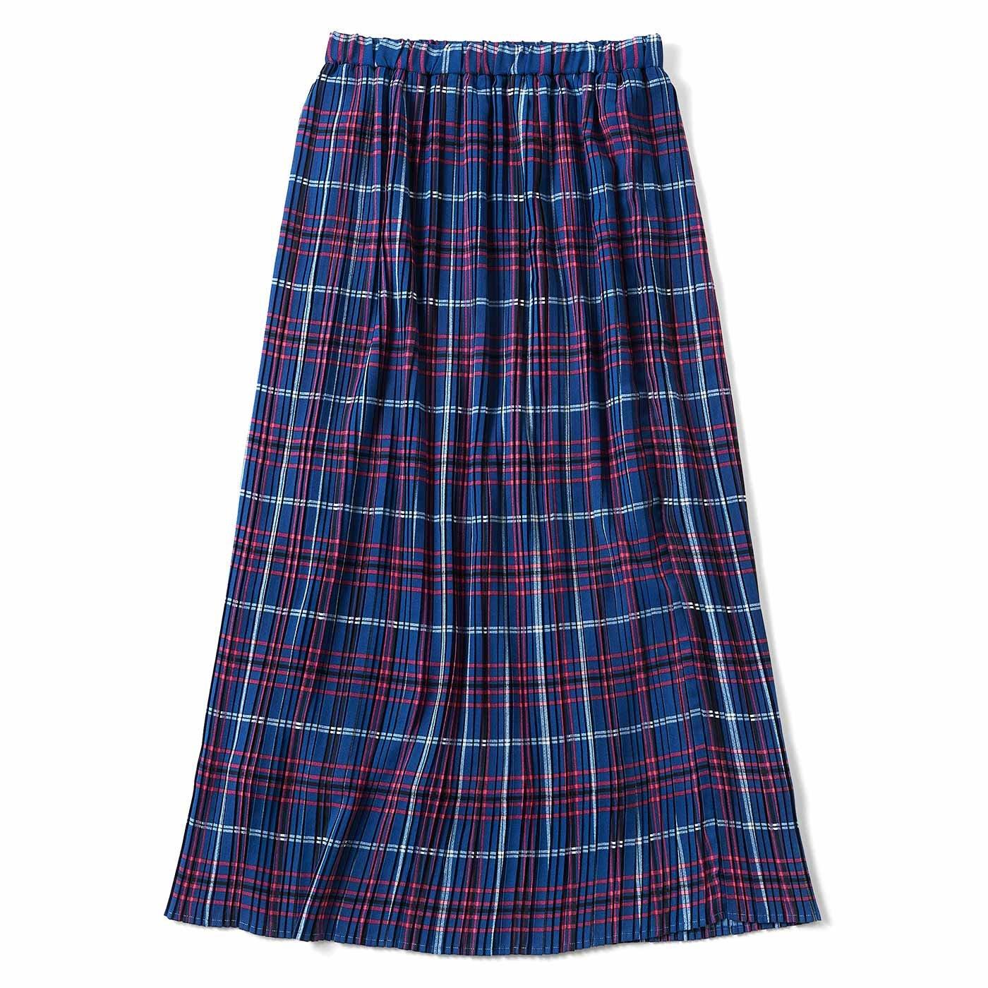 細幅が新鮮 プリーツスカート〈ブルー〉