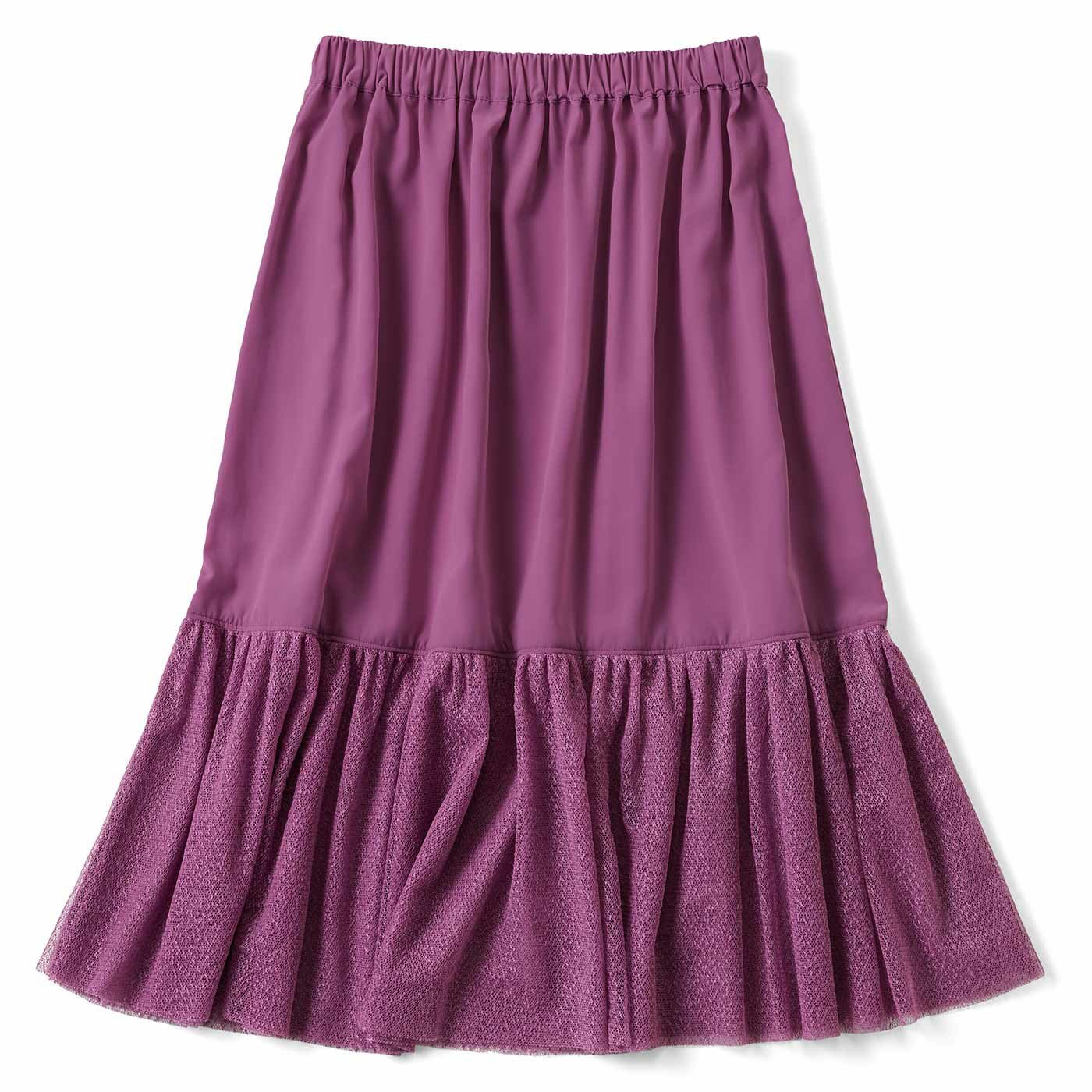 【3~10日でお届け】見せてもかわいい チュール付きペチスカート〈ぶどう〉