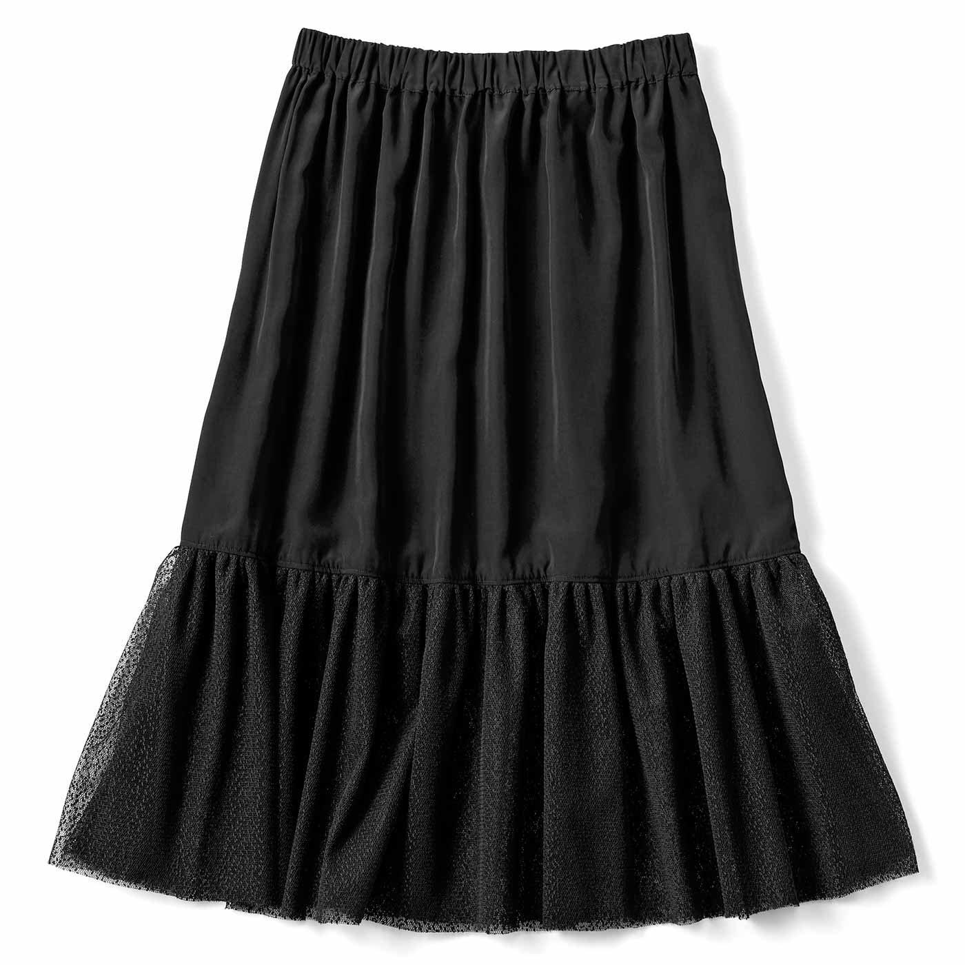 【3~10日でお届け】見せてもかわいい チュール付きペチスカート〈ブラック〉