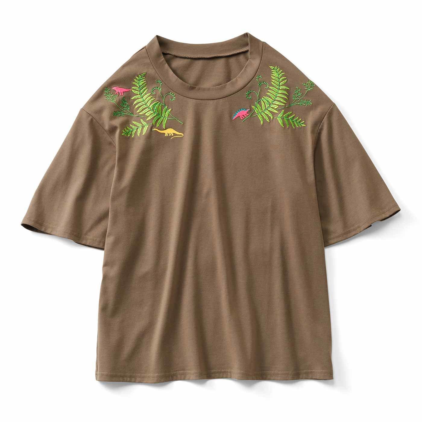 【3~10日でお届け】ゆるっと袖の刺しゅう入りTシャツ〈恐竜〉