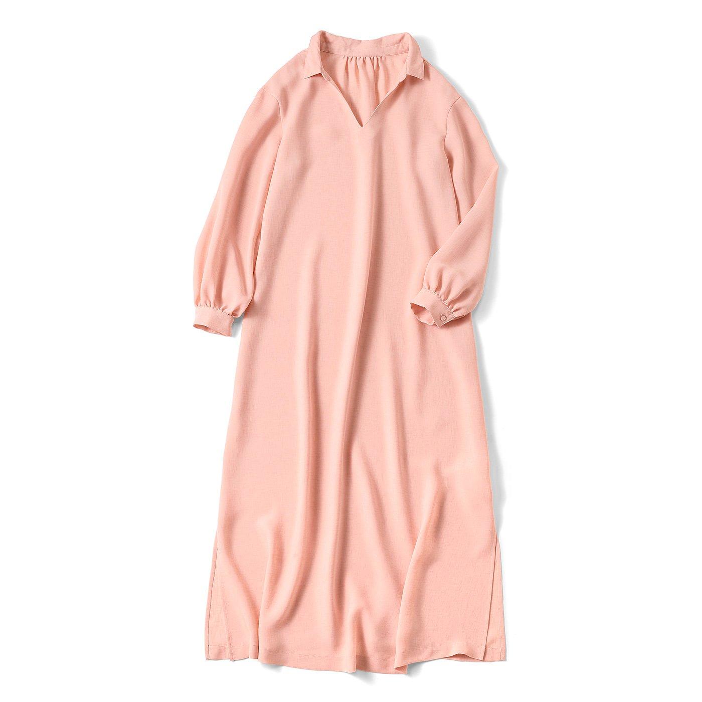 ゆるっと着こなす 軽やか薄素材ワンピース〈ベビーピンク〉