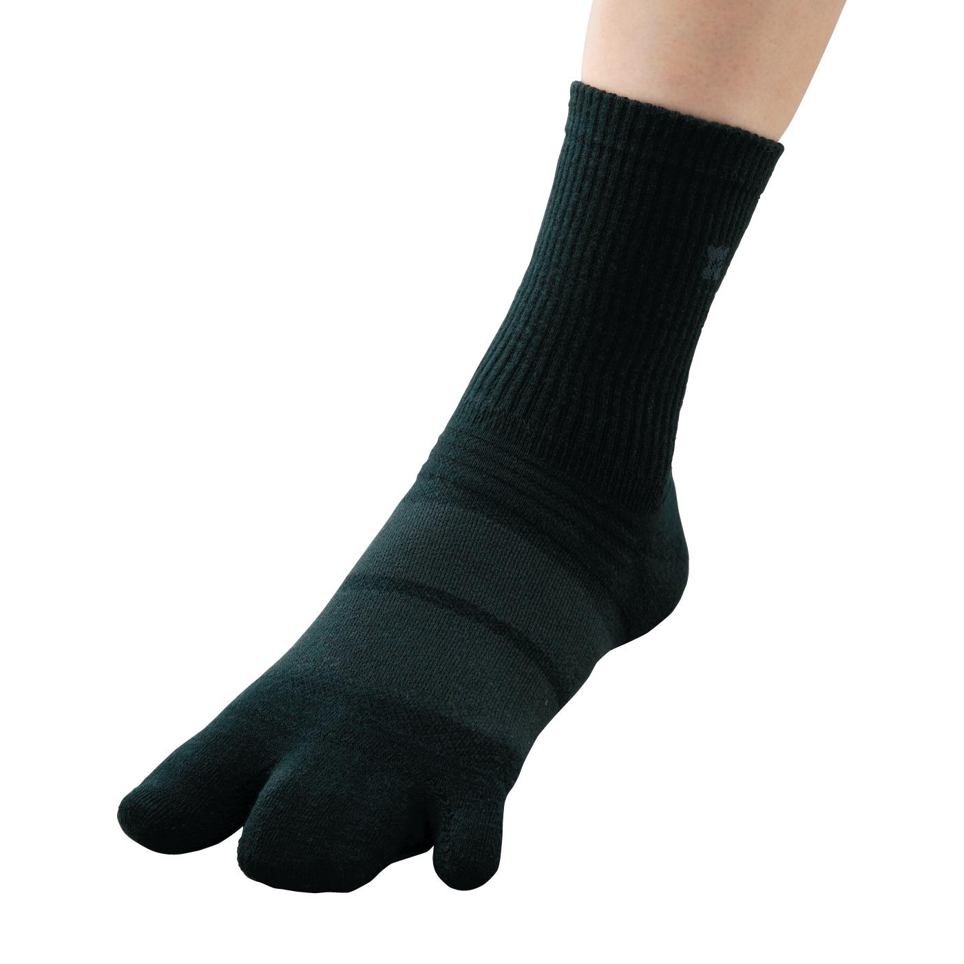 足のふんばりをサポート! 3指ソックススタンダードジャスト丈【ブラック】の会