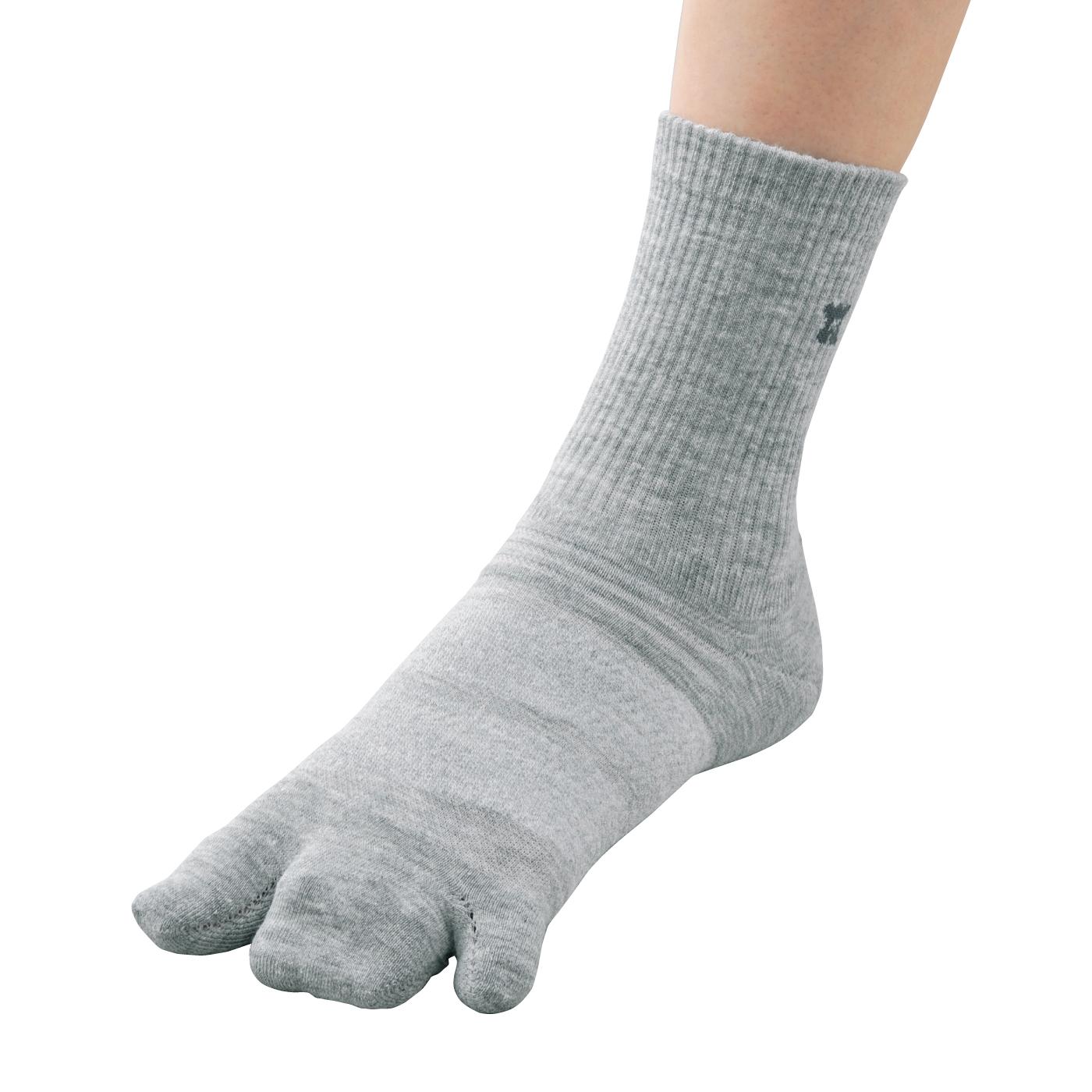 足のふんばりをサポート! 3指ソックススタンダードジャスト丈【グレー】の会