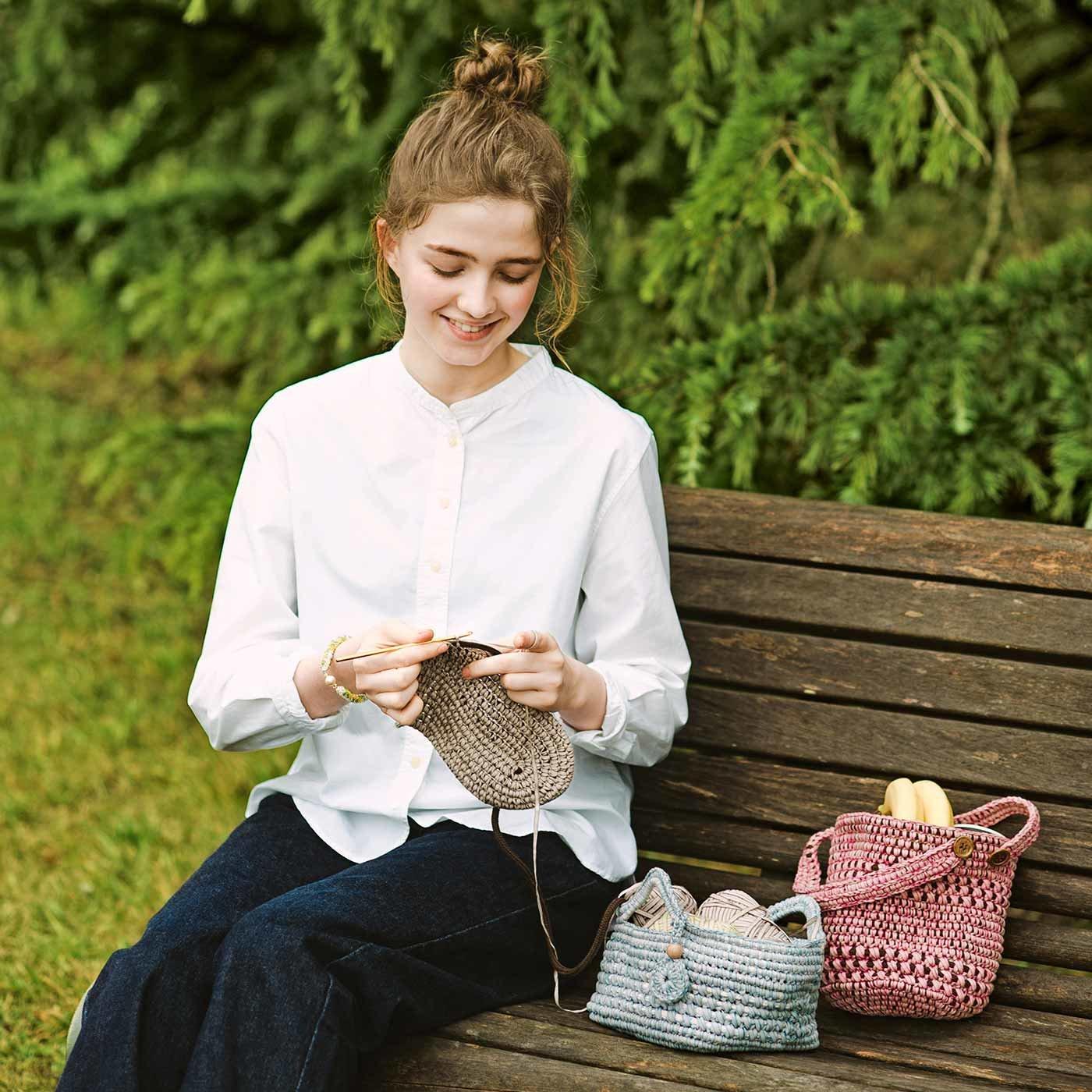 【クチュリエクラブ会員限定】コードを編みくるめば軽くてしっかり! かぎ針かごバッグの会