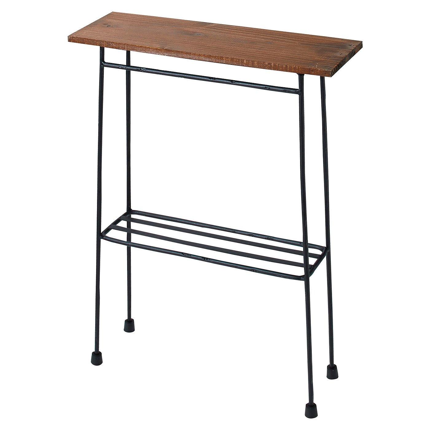 スリムで少し背が高い ちょい置き細長テーブル〈ブラック〉
