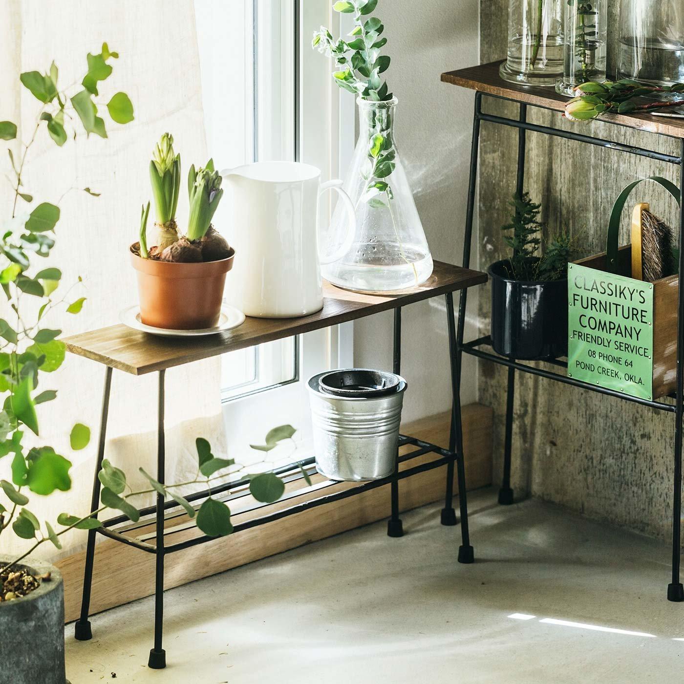 少し背の低いちょい置き細長ローテーブル〈ブラック〉