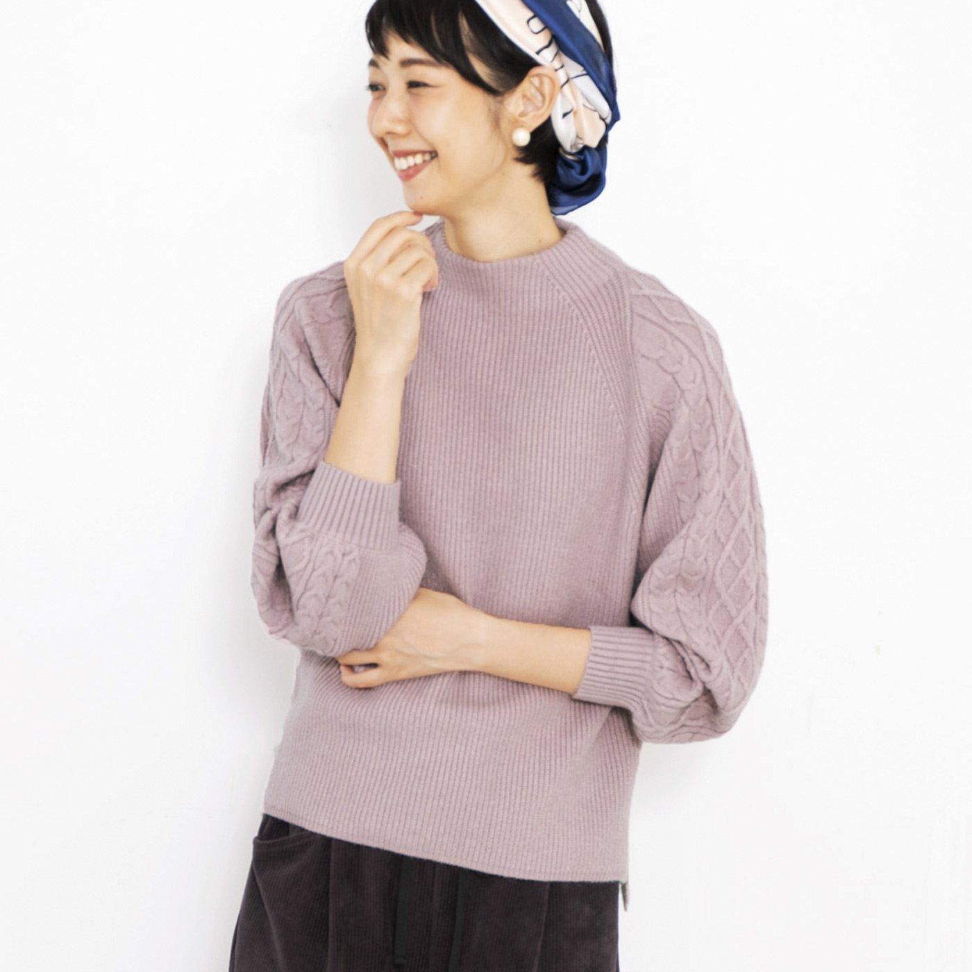 フラウグラット 編み柄ですっきり見せ ふわもっちり素材のぷっくり袖ニットの会