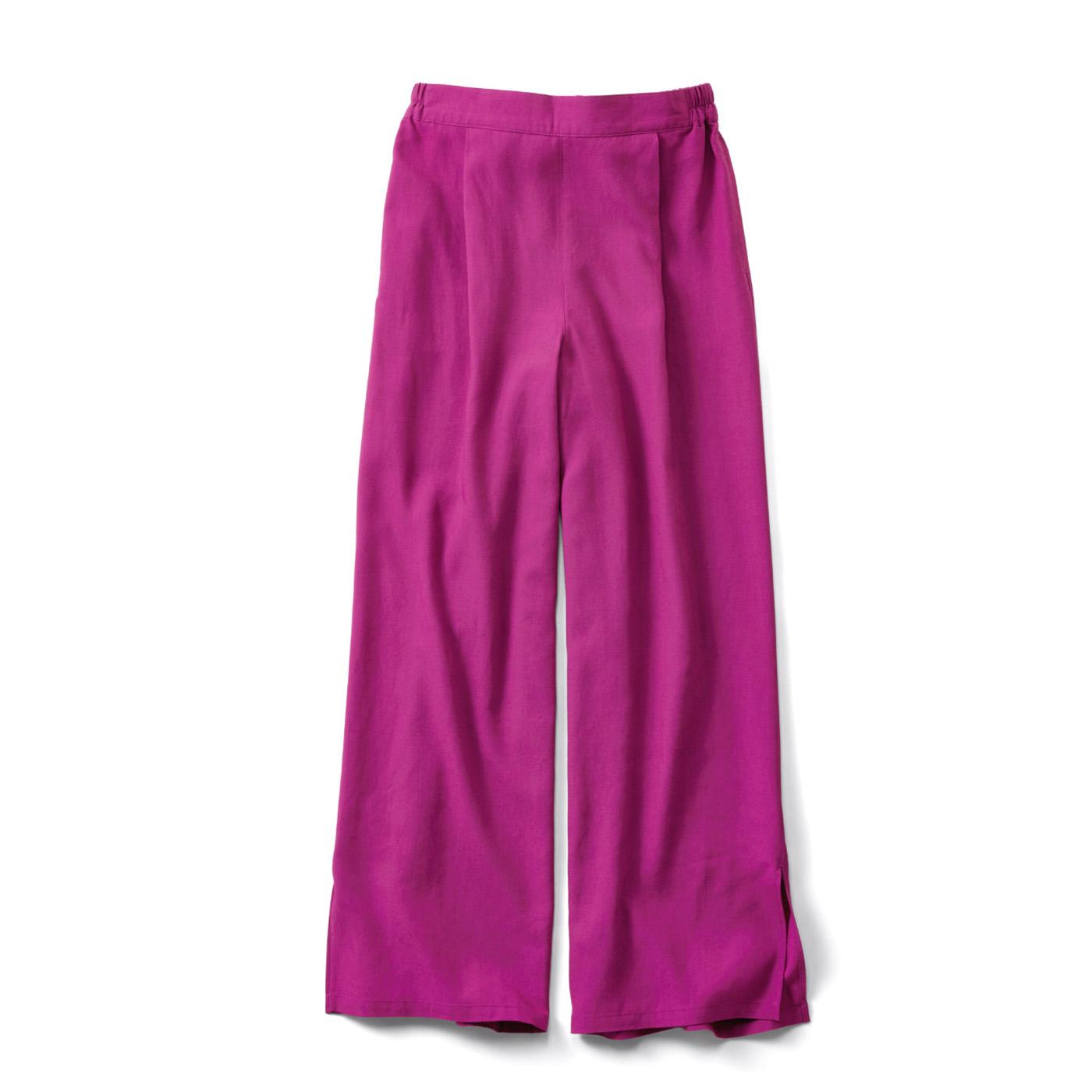 IEDIT[イディット] 麻リヨセル素材のつやとろ上質ワイドパンツ〈ピンク〉