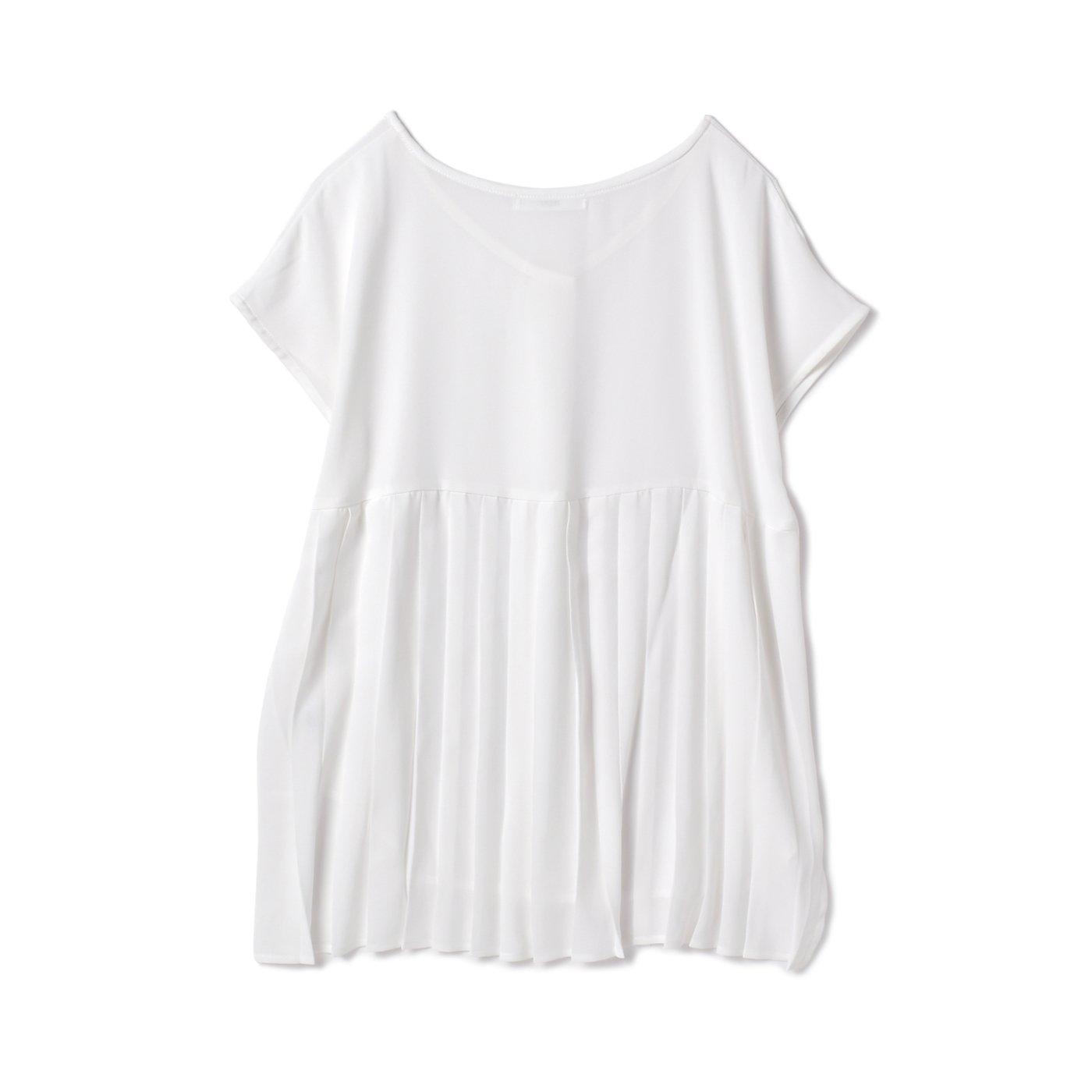 DRECO by IEDIT バックプリーツが美しい上品ホワイトトップス〈ホワイト〉