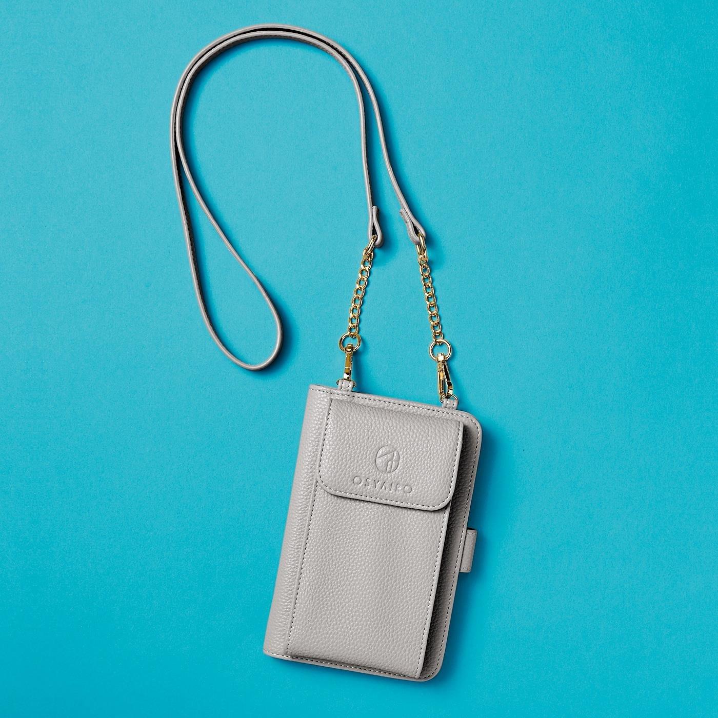 【3~10日でお届け】 OSYAIRO フォトポケットが付いた スマホ&おさいふポーチ〈ブルー〉